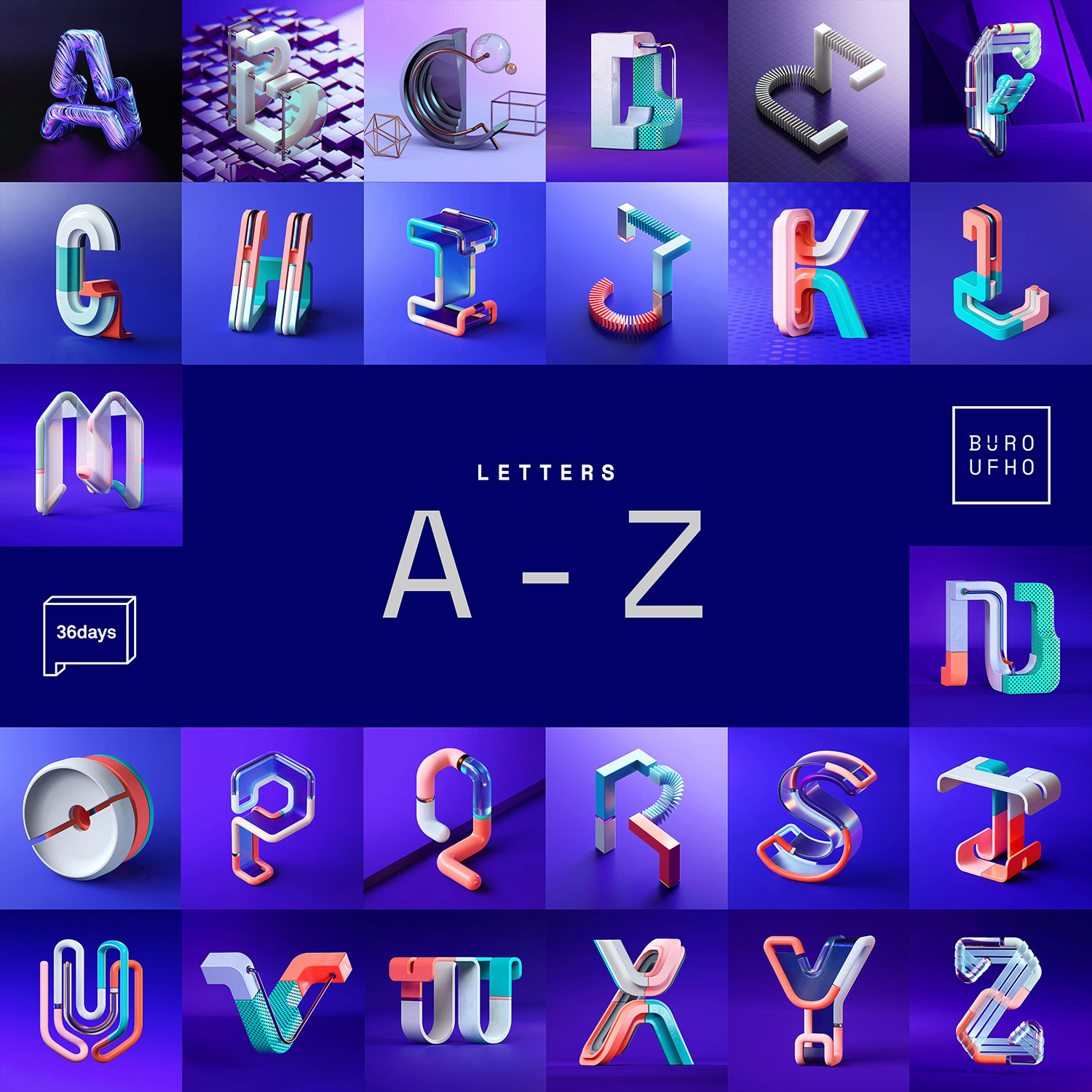 36 Days of Type 2018 - 3D letter A to Z visuals.