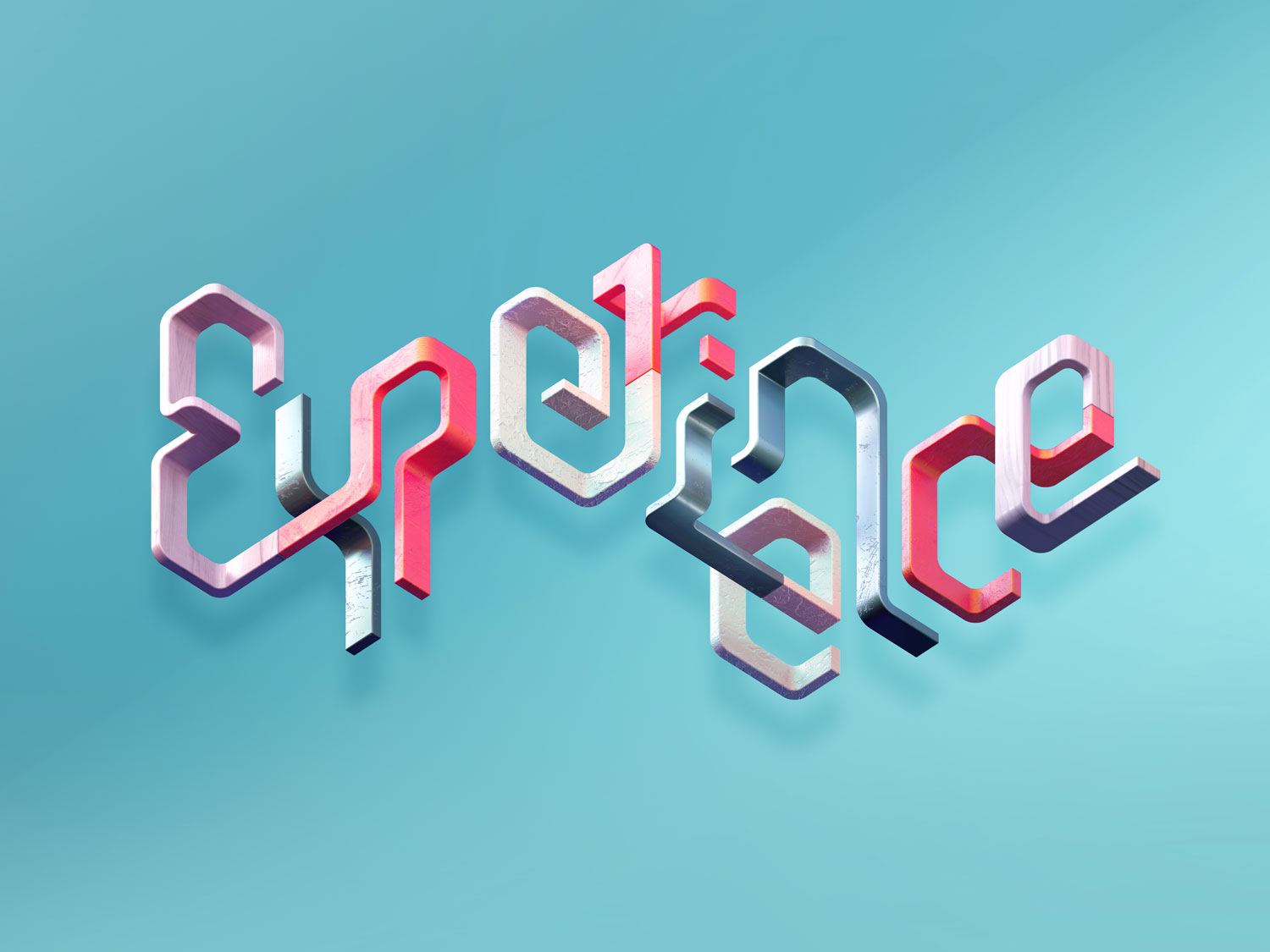 3D typographic key visual for Adobe Document Cloud: Experience Business Campaign by Singapore based brand strategy and creative design consultancy, BÜRO UFHO.