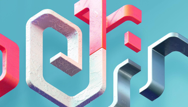 Adobe Experience - 3D typographic key visual version 1 detail closeup.
