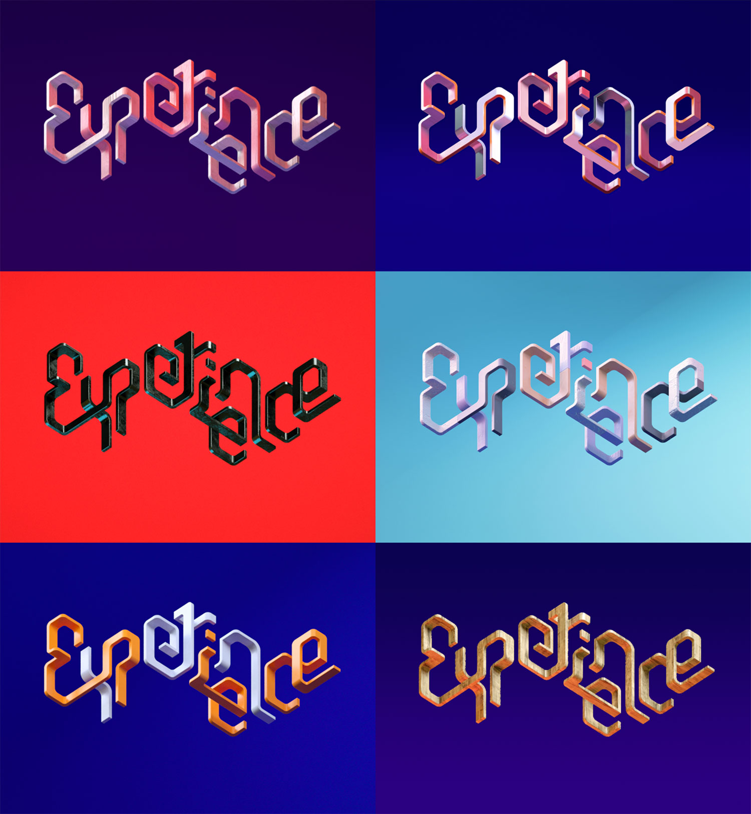 Adobe Experience - 3D typographic key visual - Version 1 explorations.