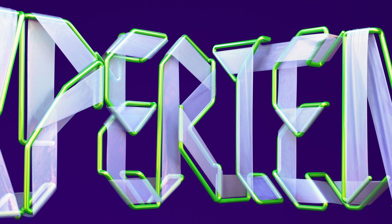 Adobe Experience - 3D typographic key visual version 2 detail closeup.