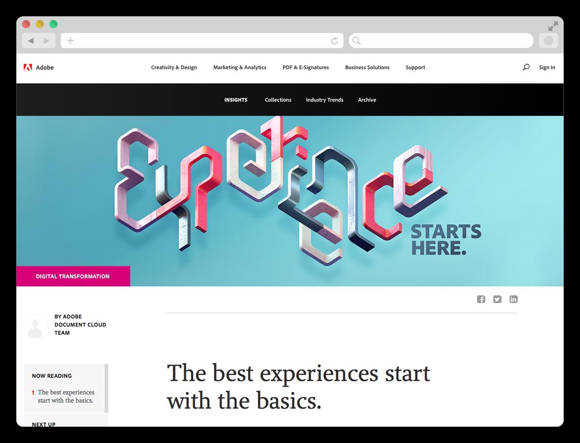 Adobe Experience - 3D typographic key visual on Adobe blog.