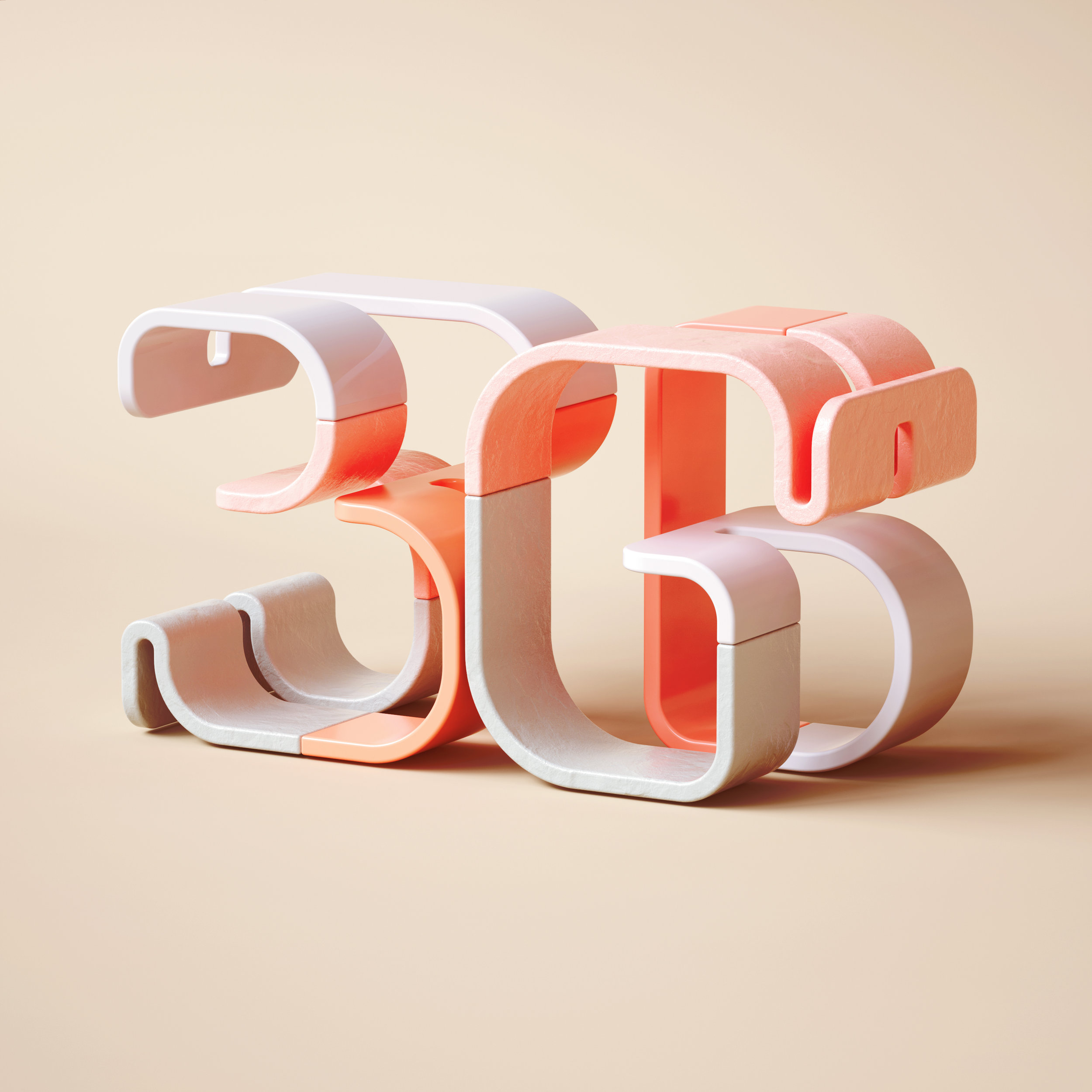 36 Days of Type 2019 - 3D Typeform number 36 visual.