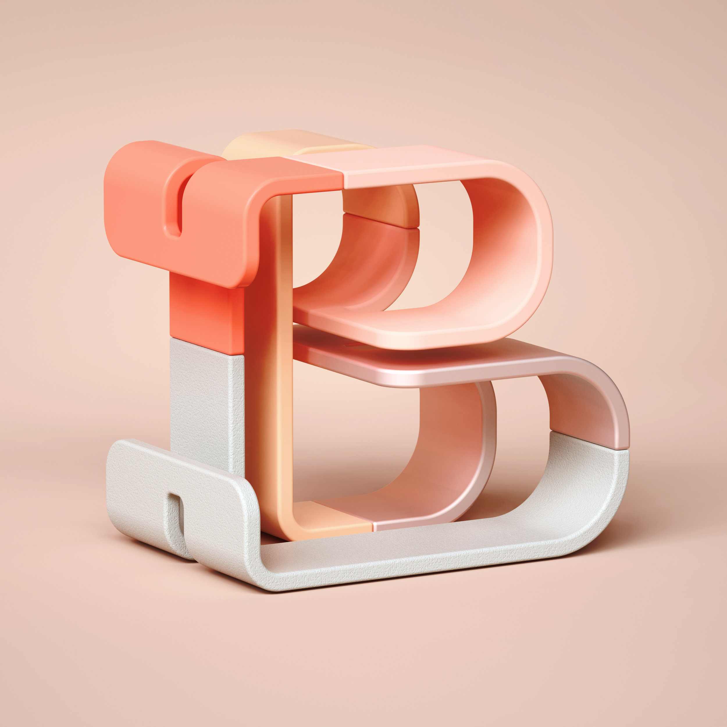 36 Days of Type 2019 - 3D Typeform letter B visual.