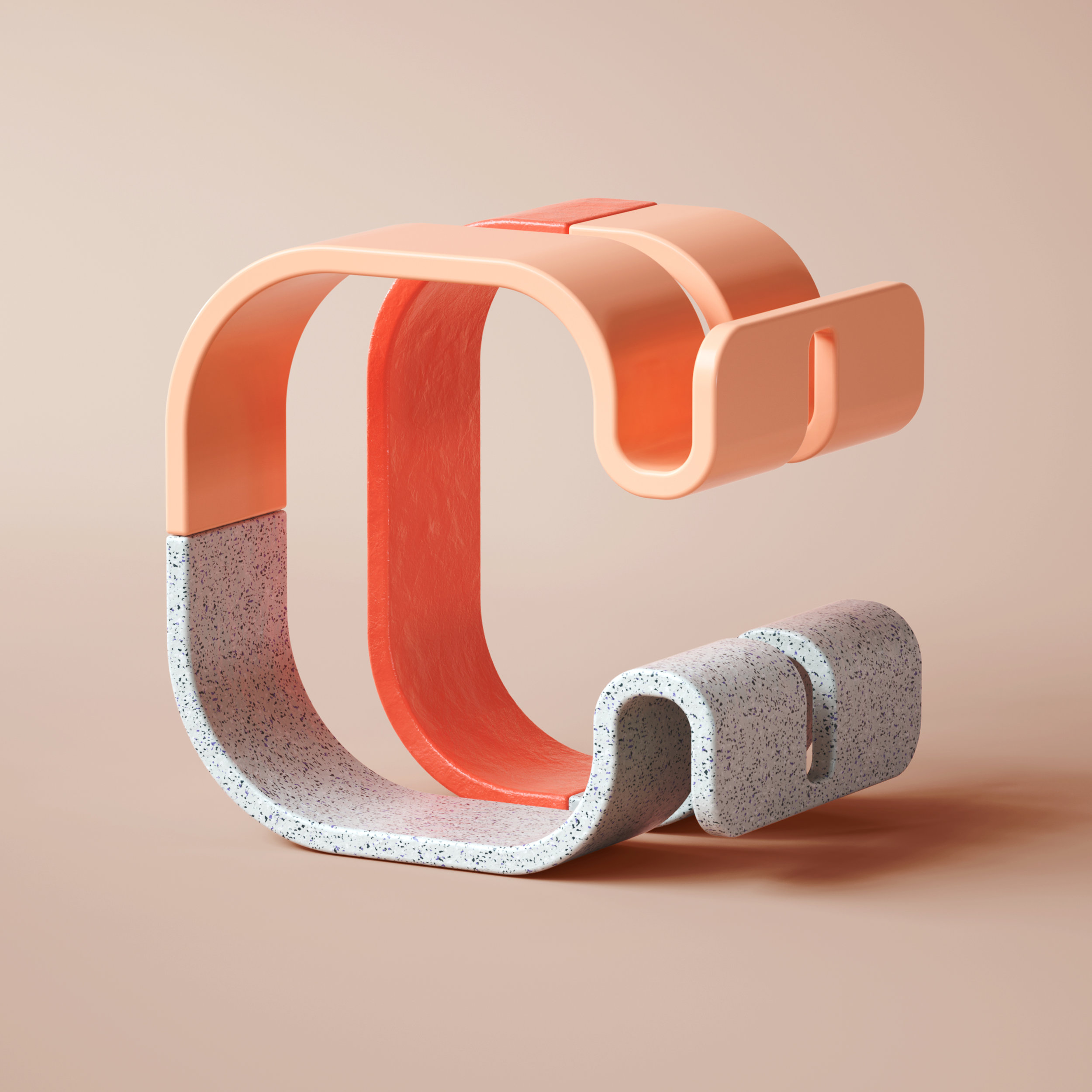 36 Days of Type 2019 - 3D Typeform letter C visual.