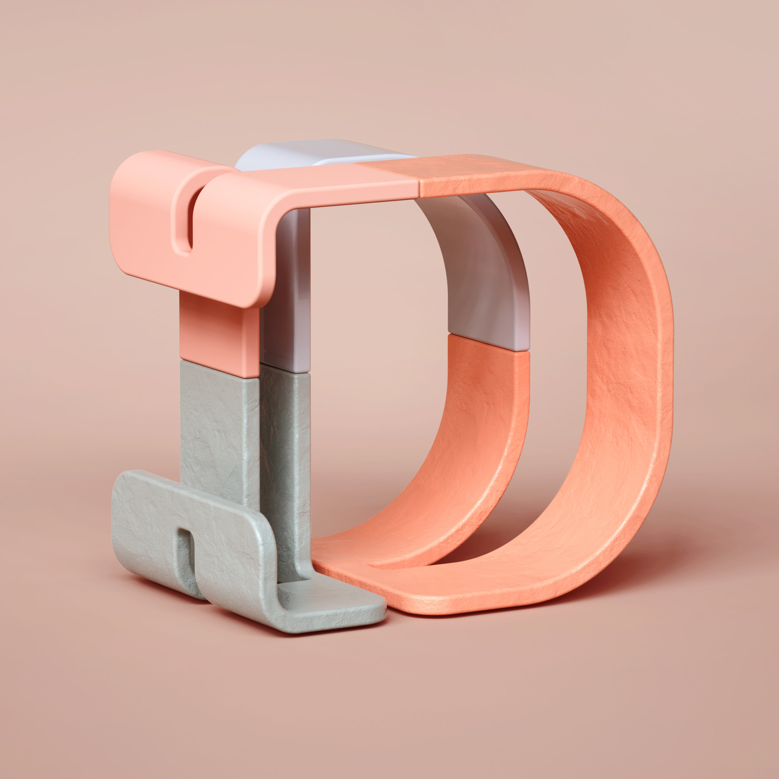 36 Days of Type 2019 - 3D Typeform letter D visual.
