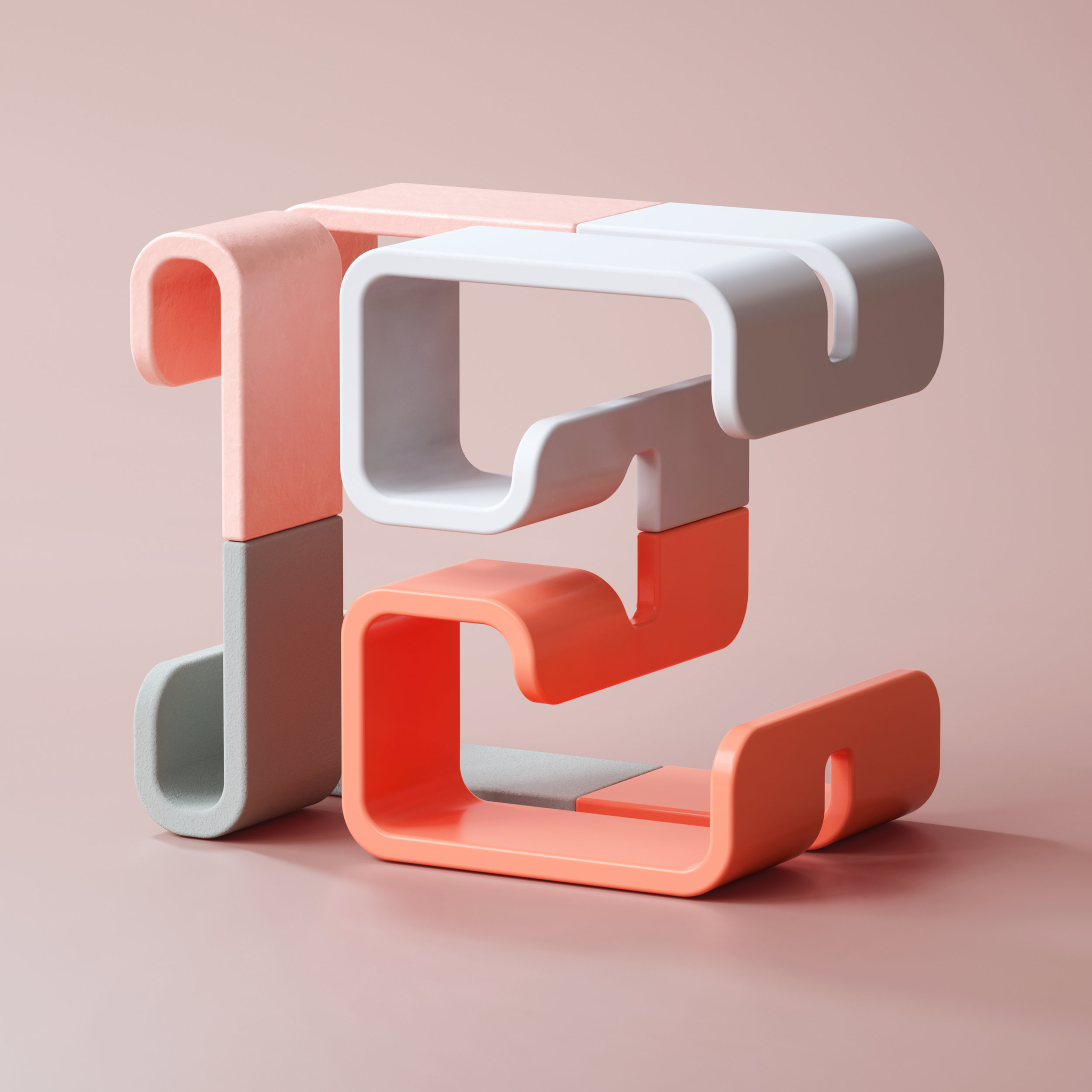 36 Days of Type 2019 - 3D Typeform letter E visual.