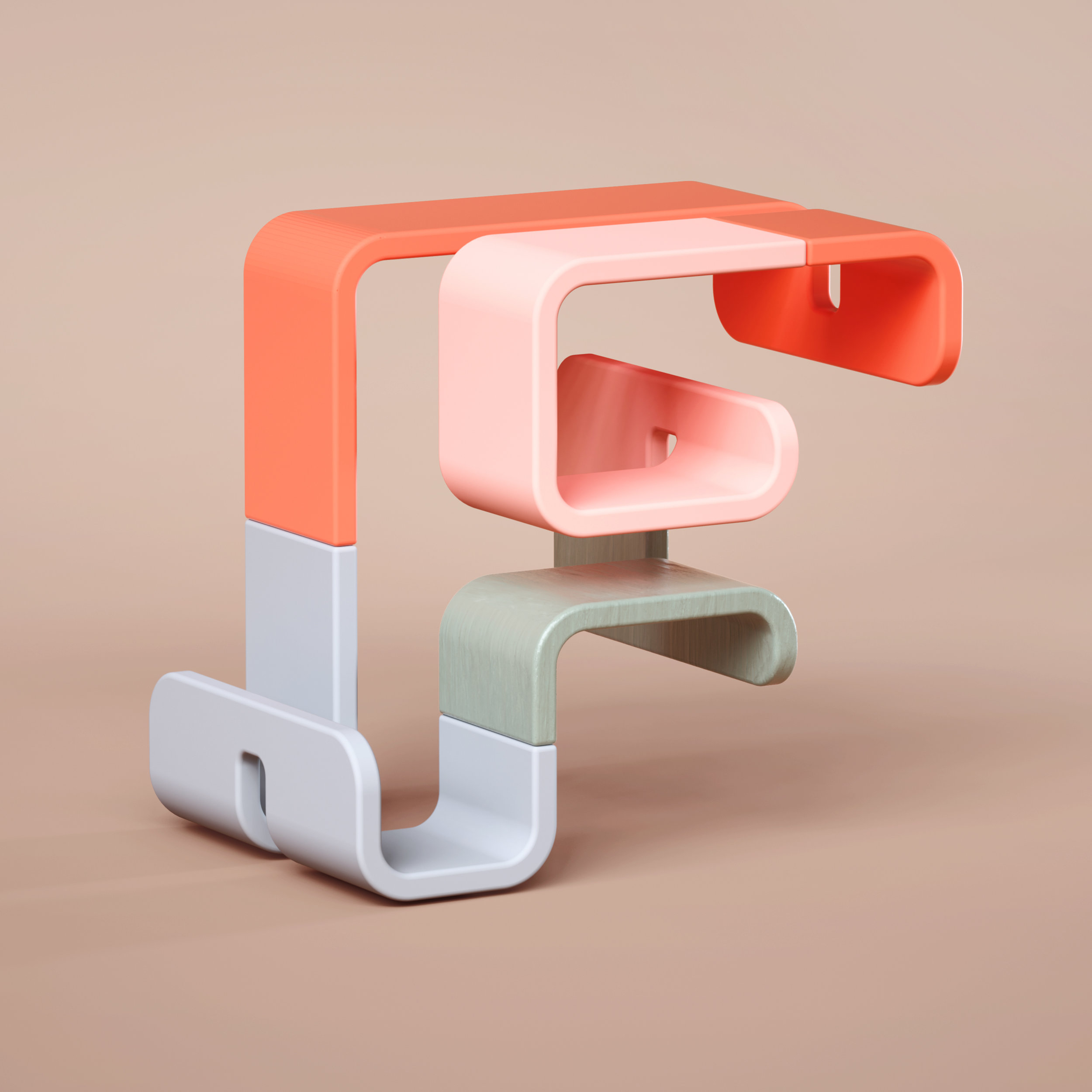 36 Days of Type 2019 - 3D Typeform letter F visual.