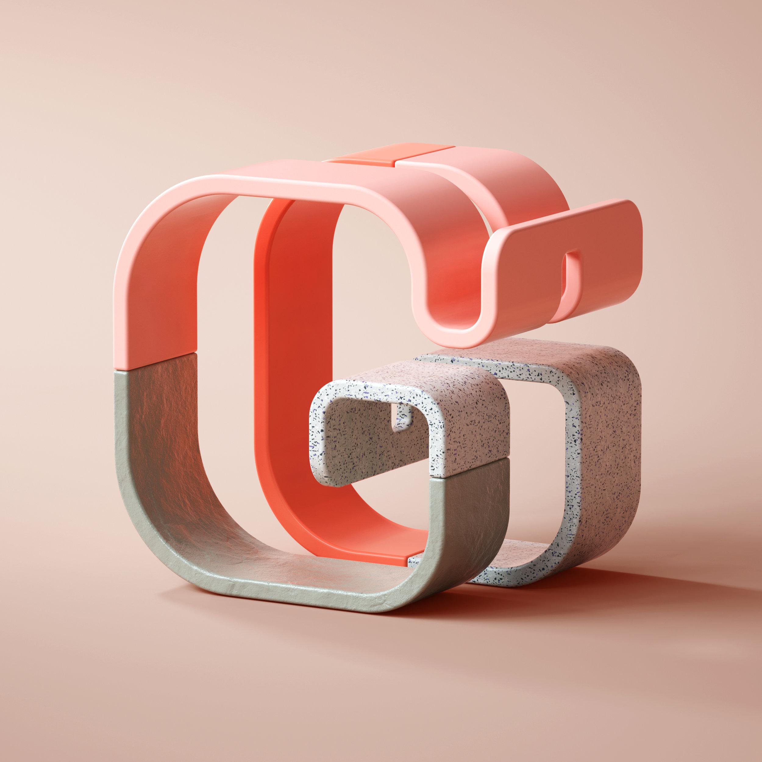 36 Days of Type 2019 - 3D Typeform letter G visual.