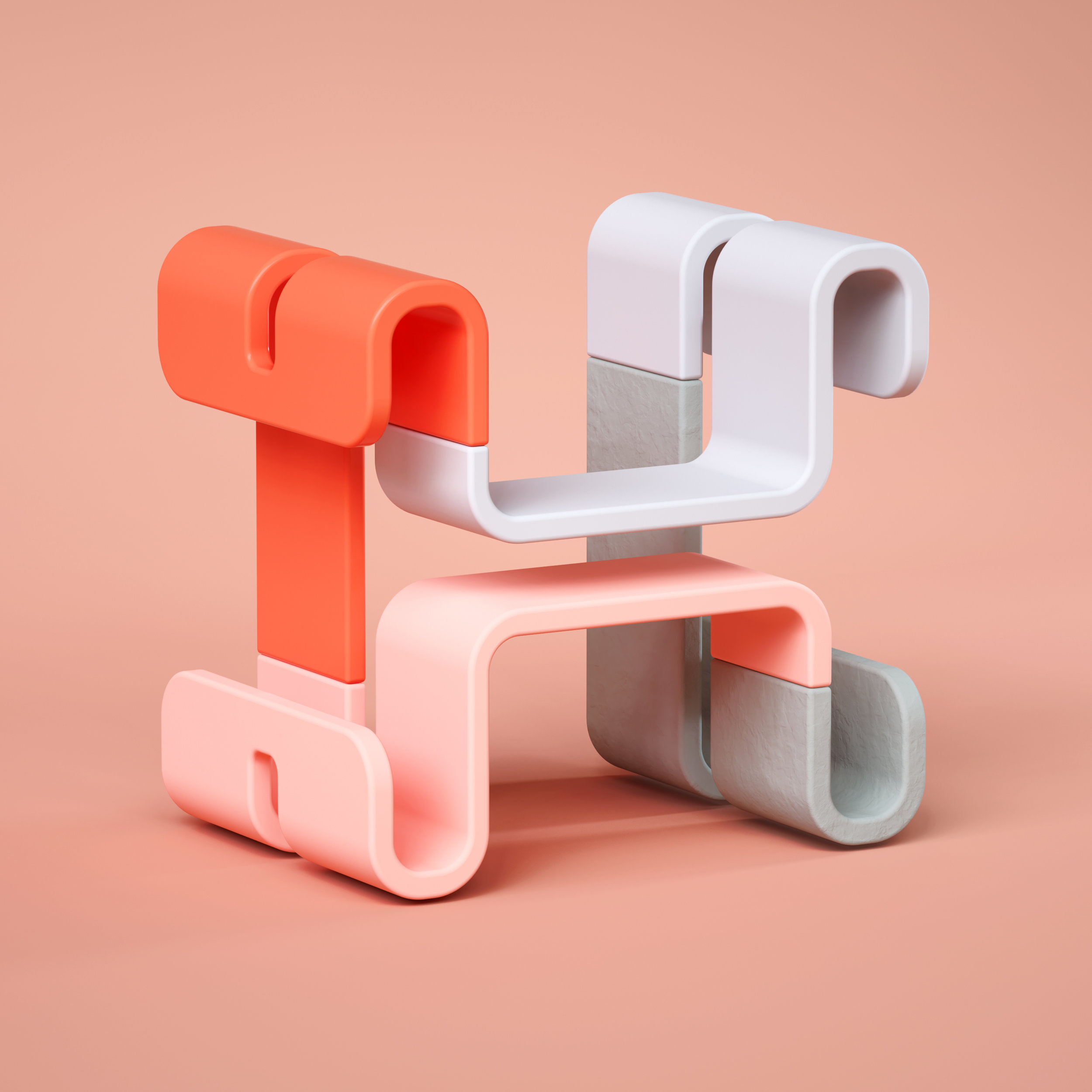 36 Days of Type 2019 - 3D Typeform letter H visual.