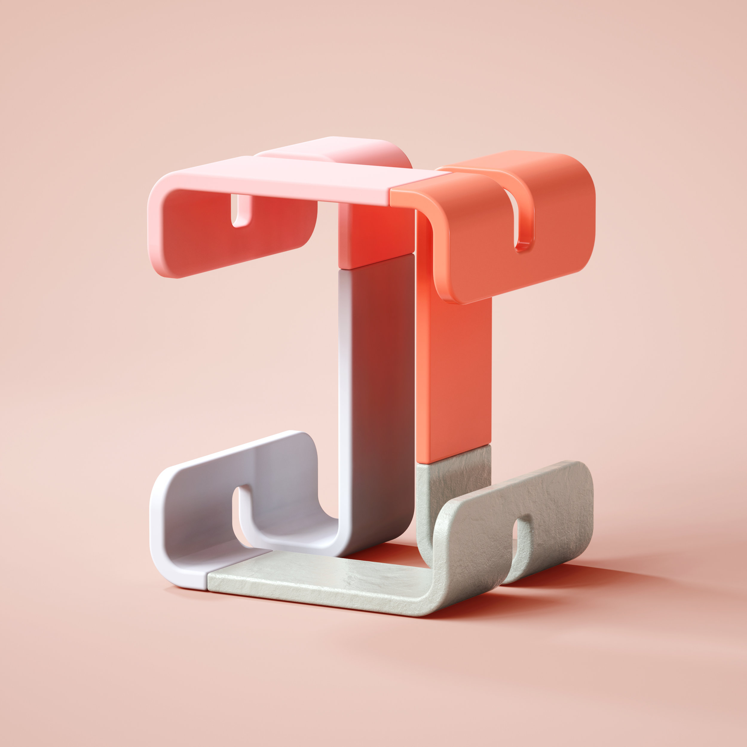 36 Days of Type 2019 - 3D Typeform letter I visual.