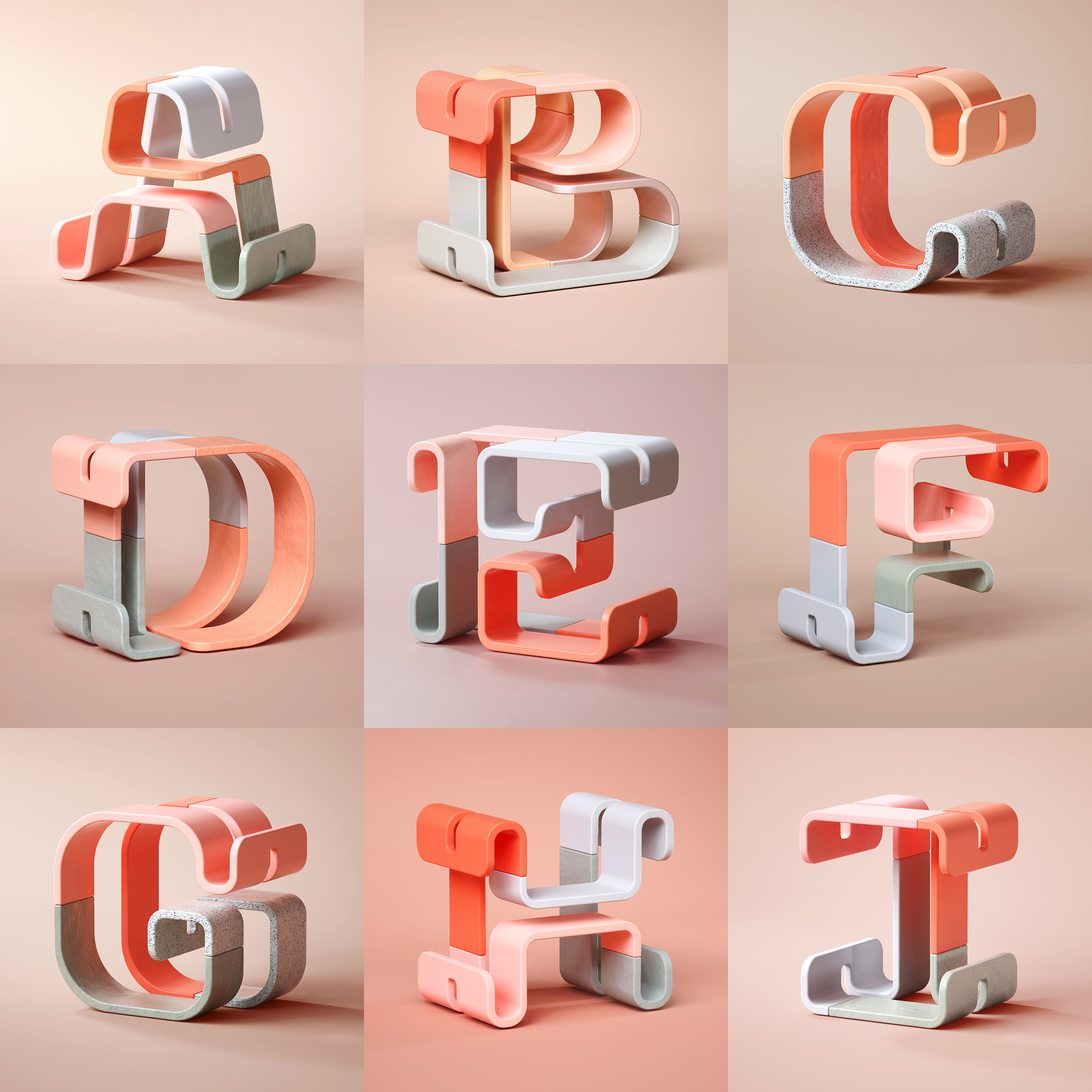 36 Days of Type 2019 - 3D Typeform letter A to I visuals by Singapore based brand strategy and creative design consultancy, BÜRO UFHO.