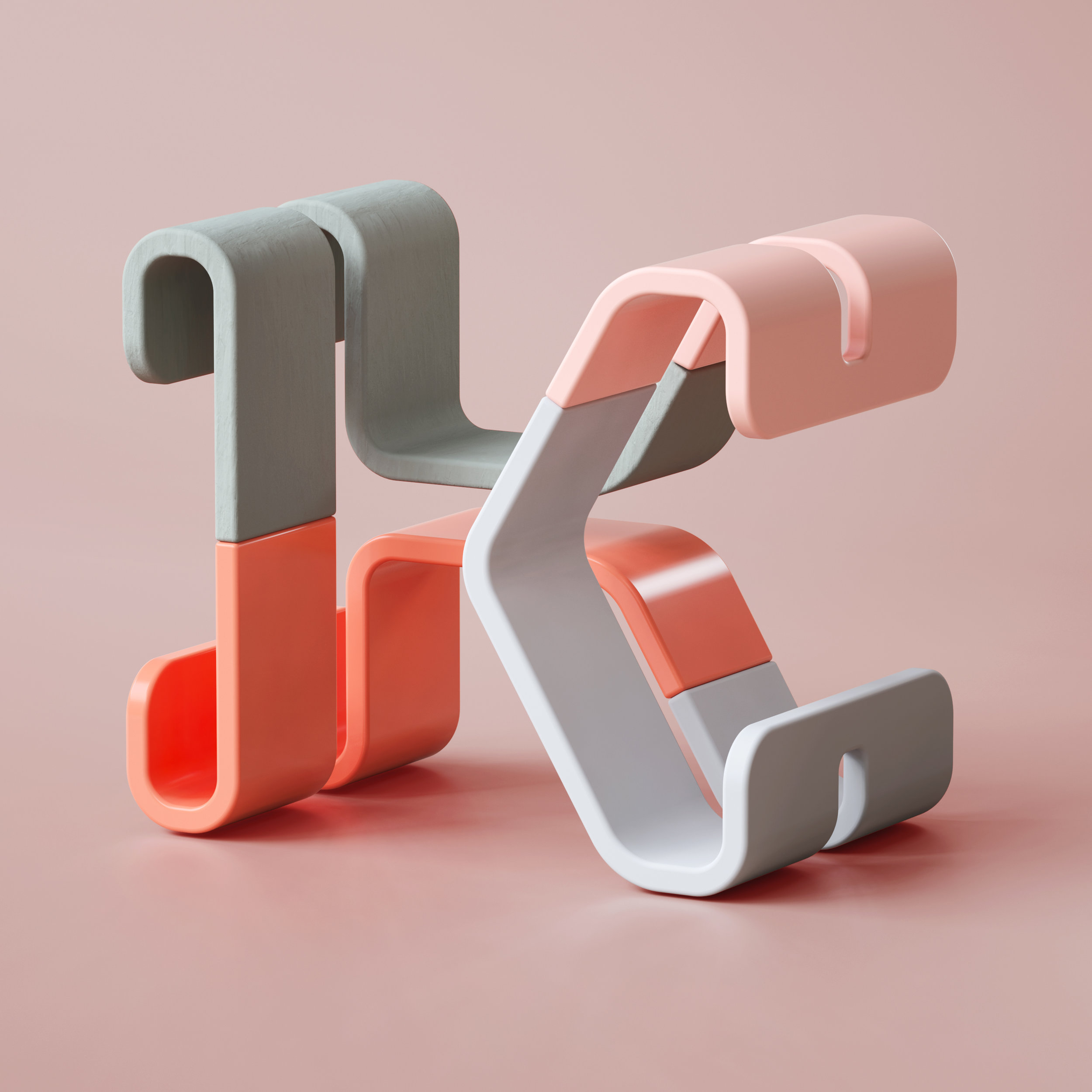 36 Days of Type 2019 - 3D Typeform letter K visual.