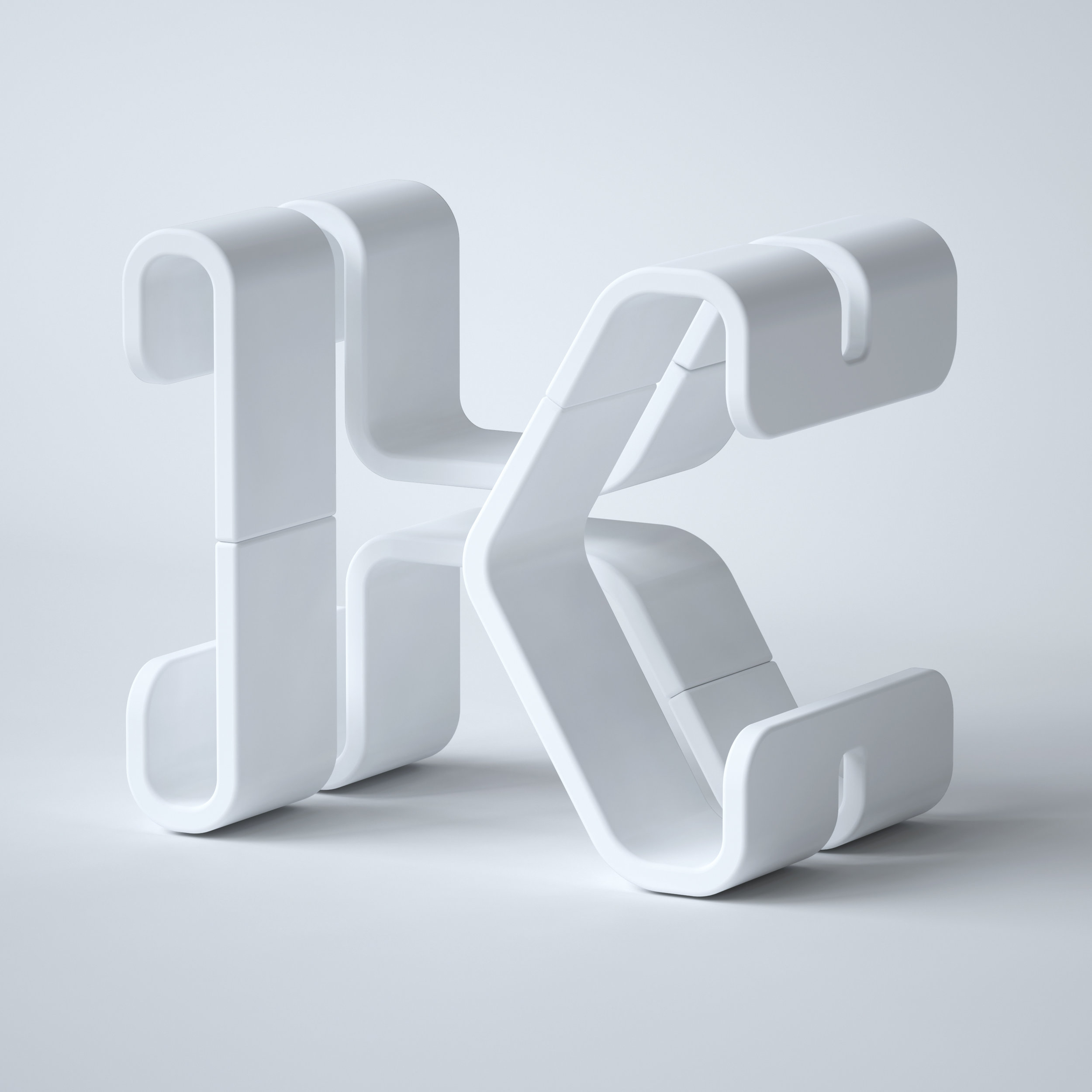36 Days of Type 2019 - 3D Typeform letter K clay model visual.