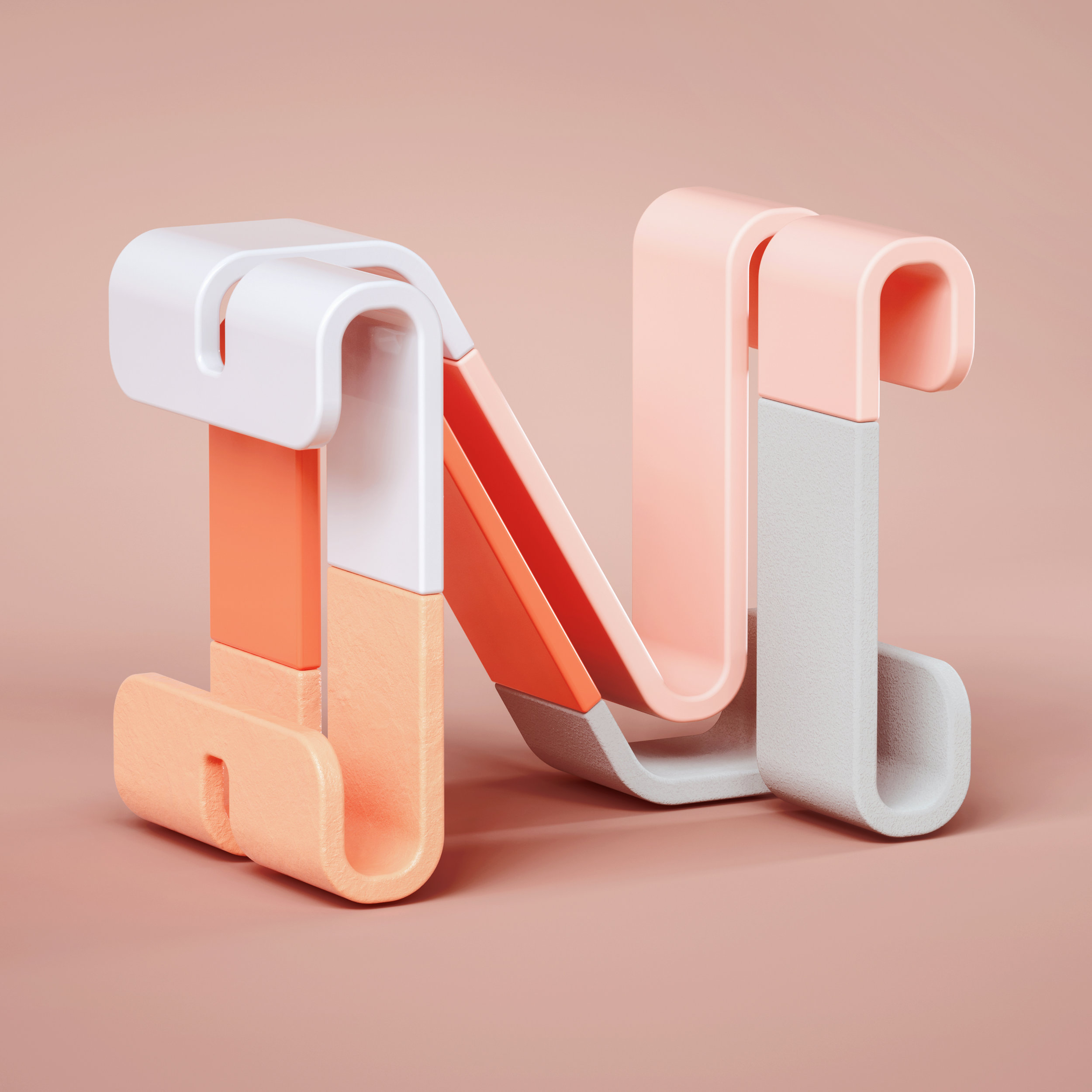 36 Days of Type 2019 - 3D Typeform letter N visual.