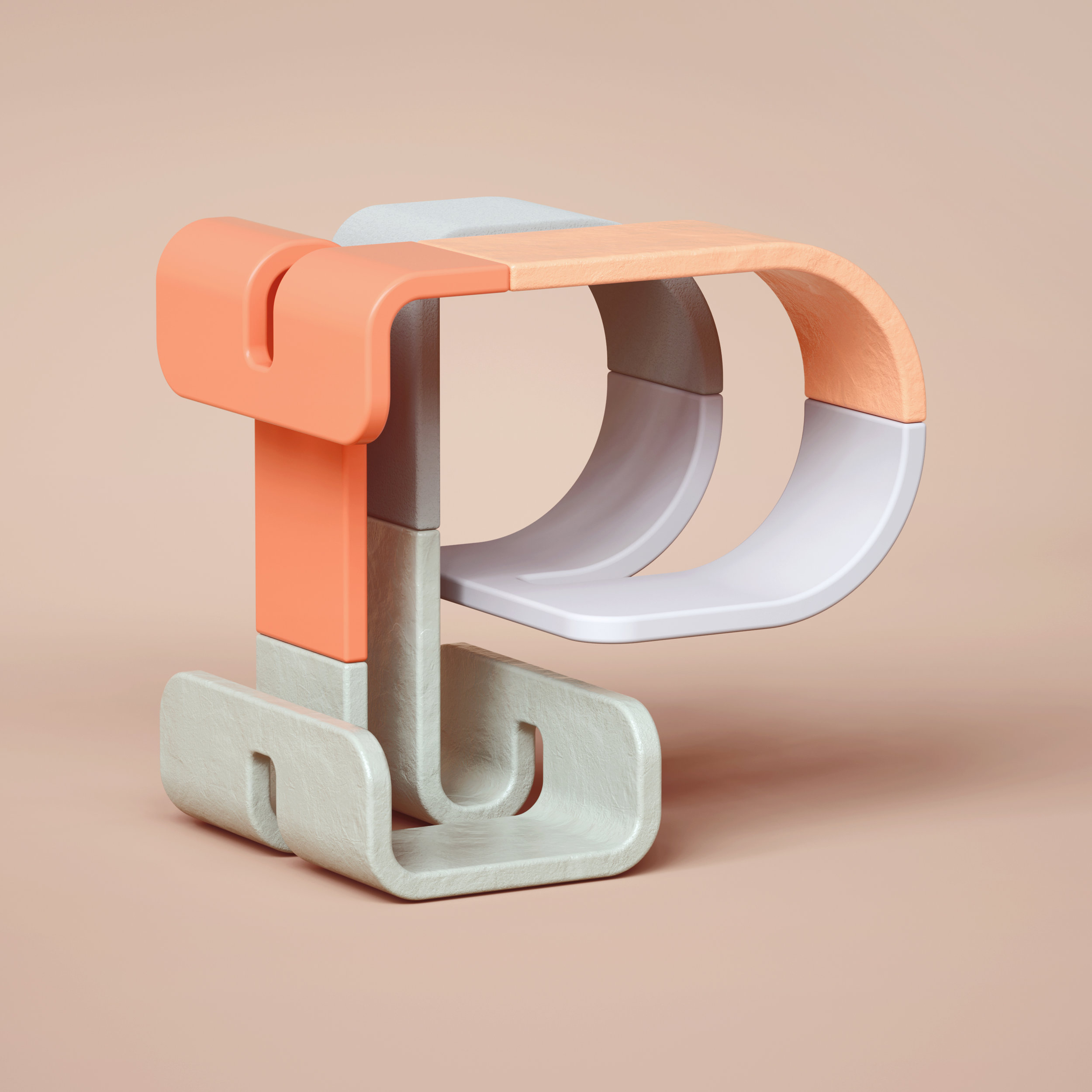 36 Days of Type 2019 - 3D Typeform letter P visual.