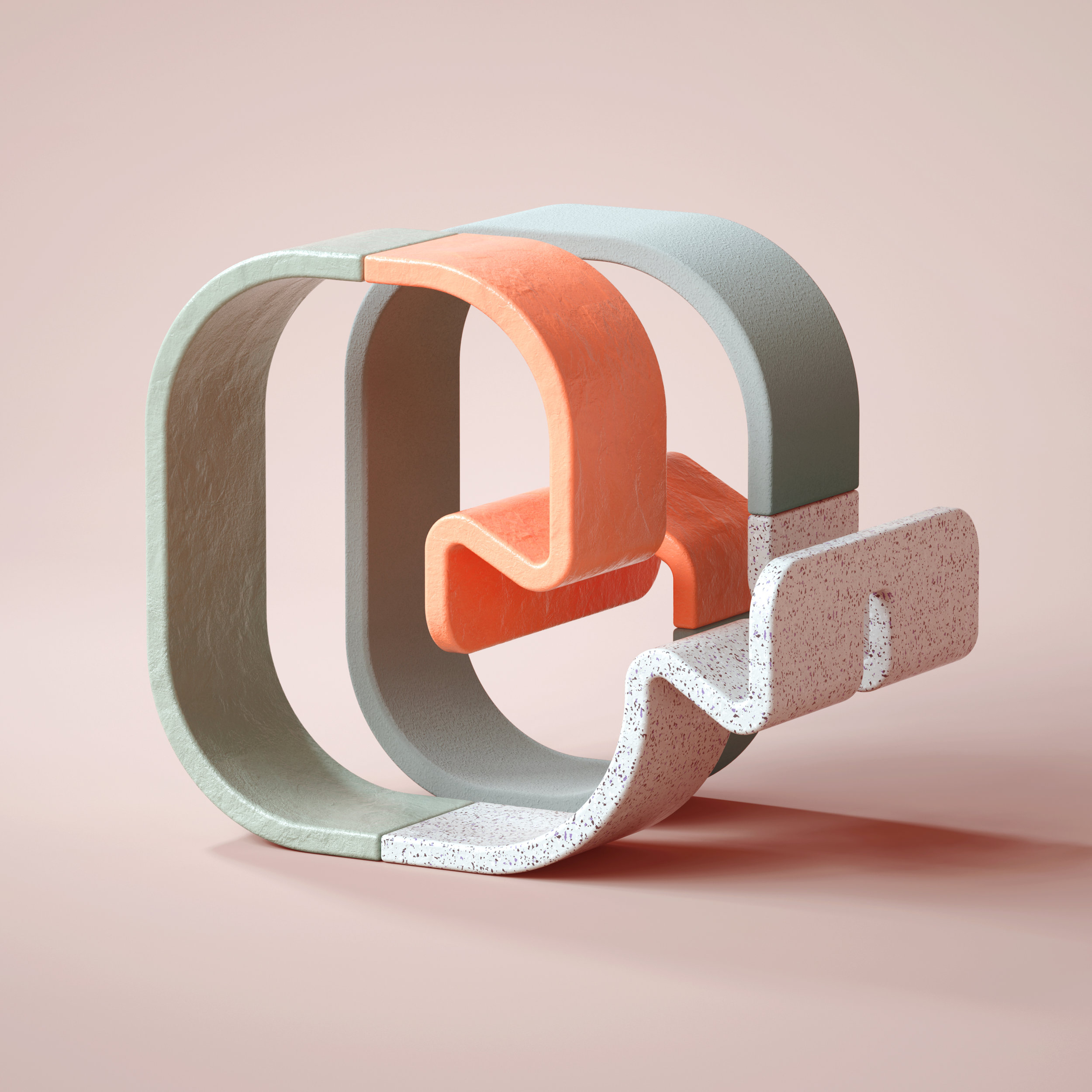 36 Days of Type 2019 - 3D Typeform letter Q visual.