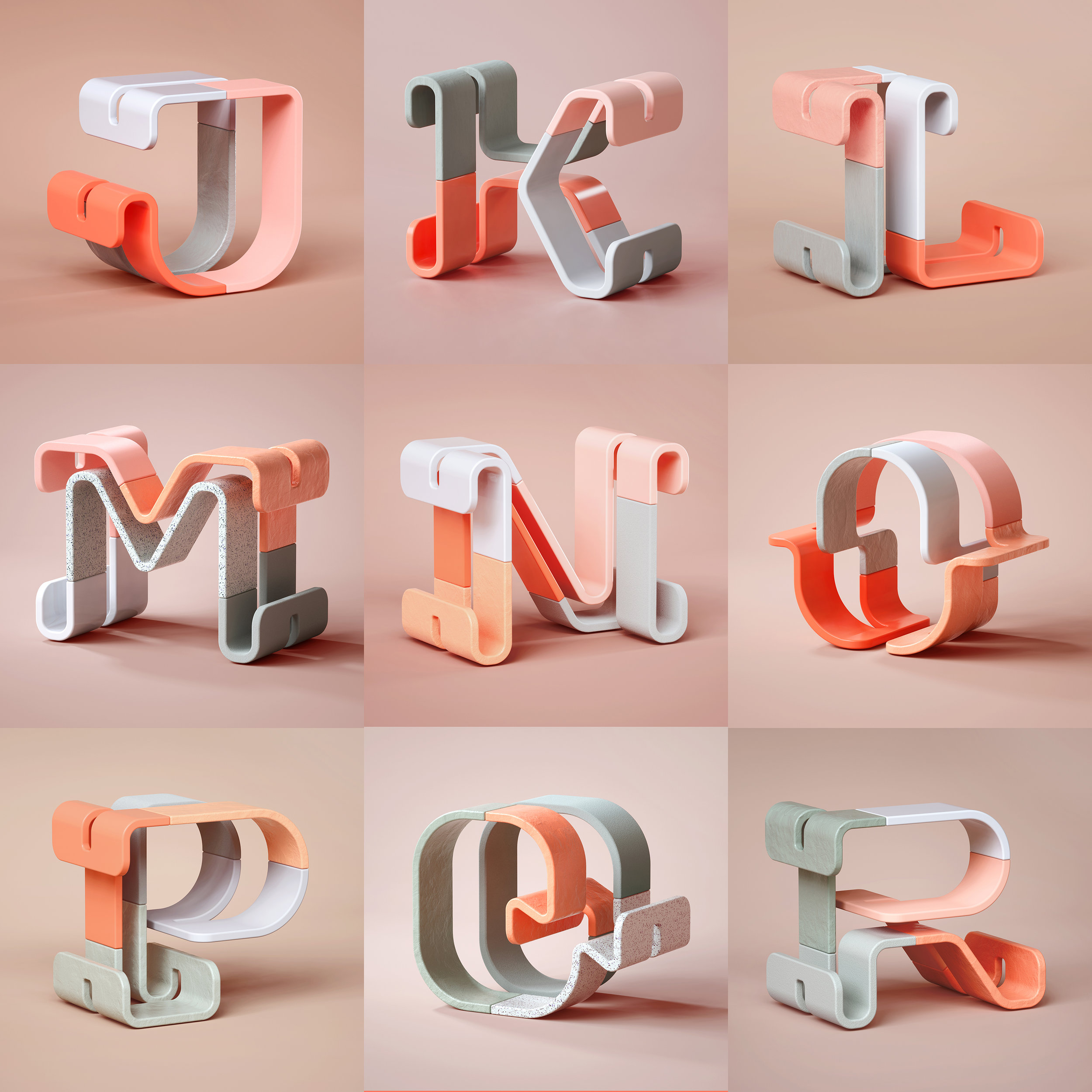 36 Days of Type 2019 - 3D Typeform letter J to R visuals by Singapore based brand strategy and creative design consultancy, BÜRO UFHO.