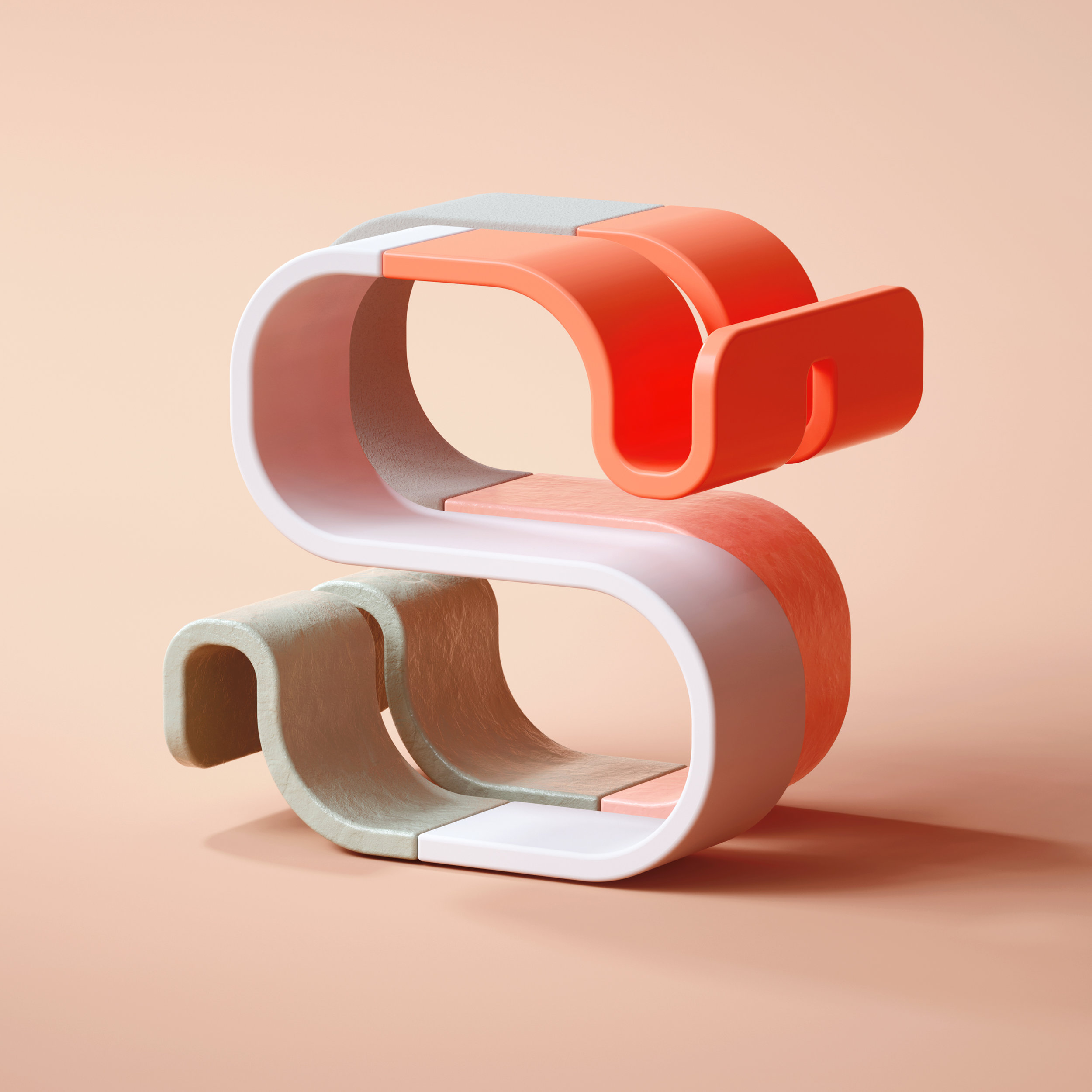36 Days of Type 2019 - 3D Typeform letter S visual.