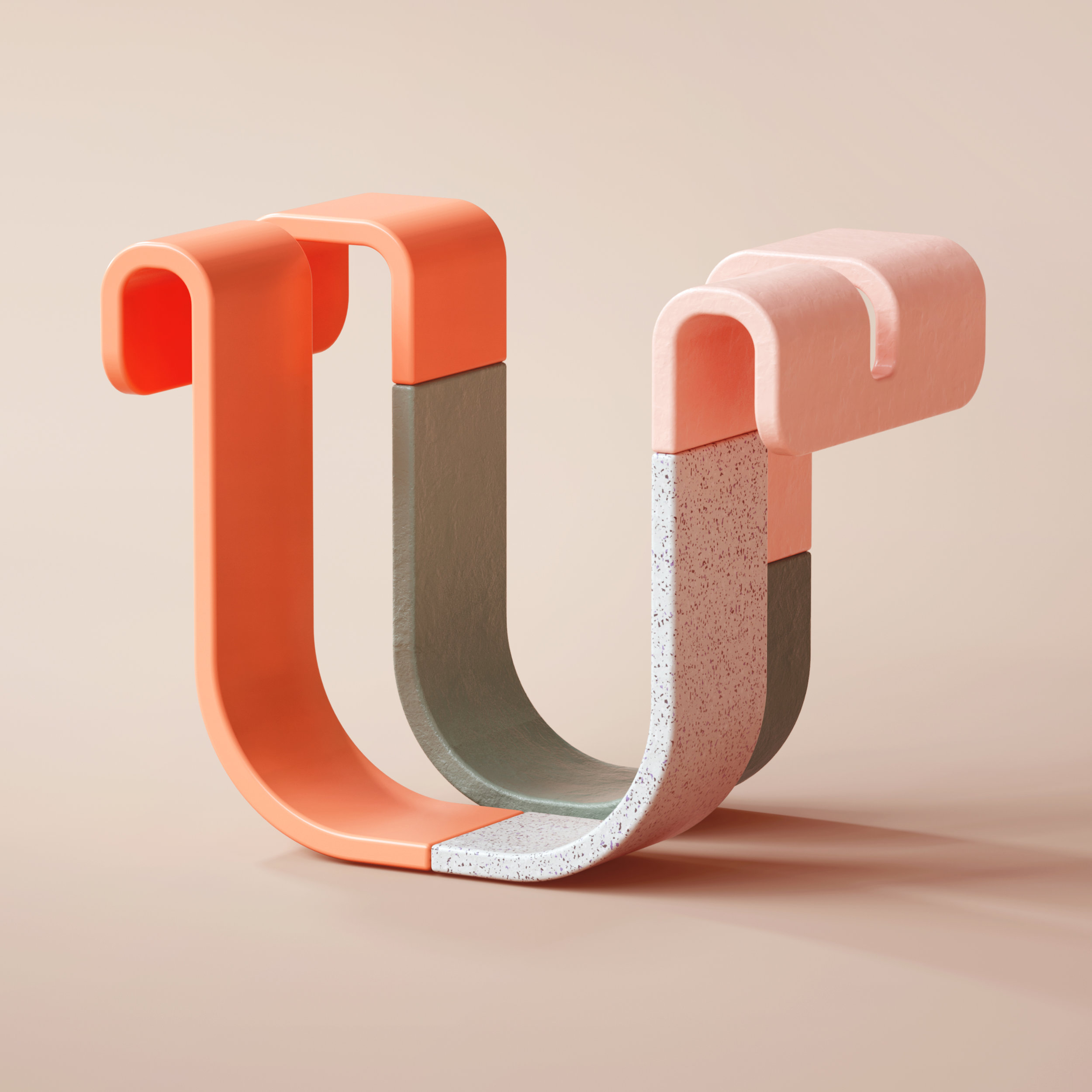36 Days of Type 2019 - 3D Typeform letter U visual.