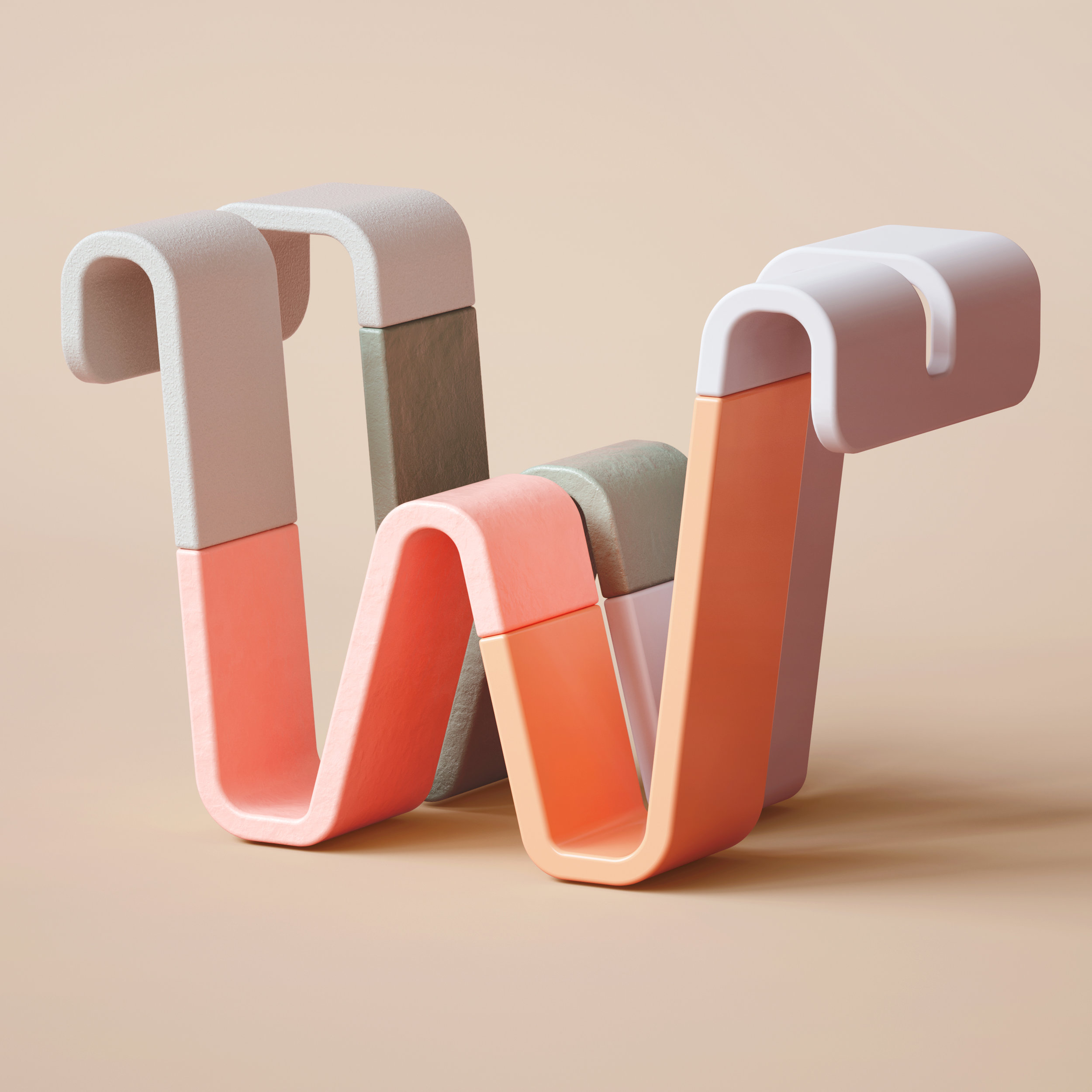 36 Days of Type 2019 - 3D Typeform letter W visual.