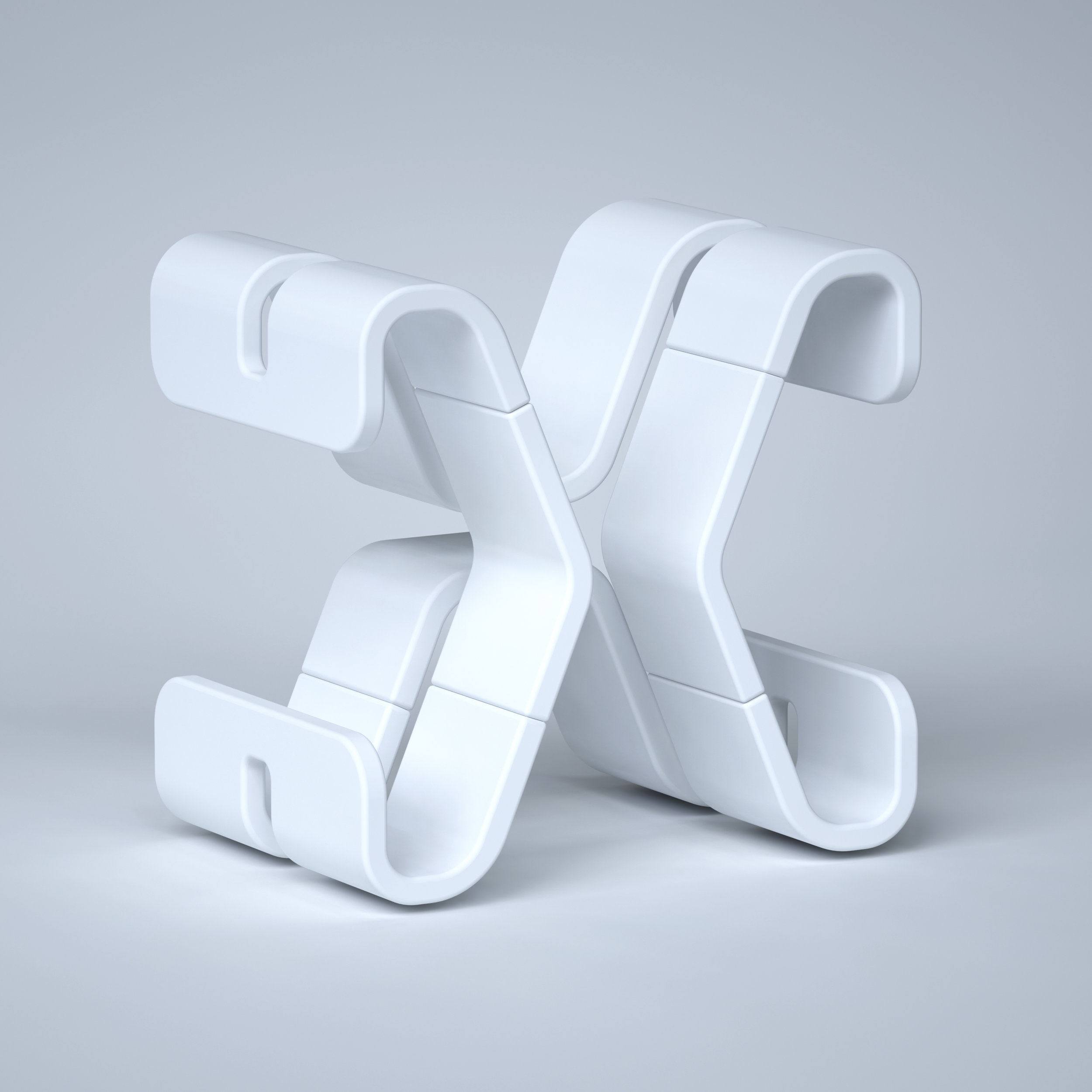 36 Days of Type 2019 - 3D Typeform letter X clay model.