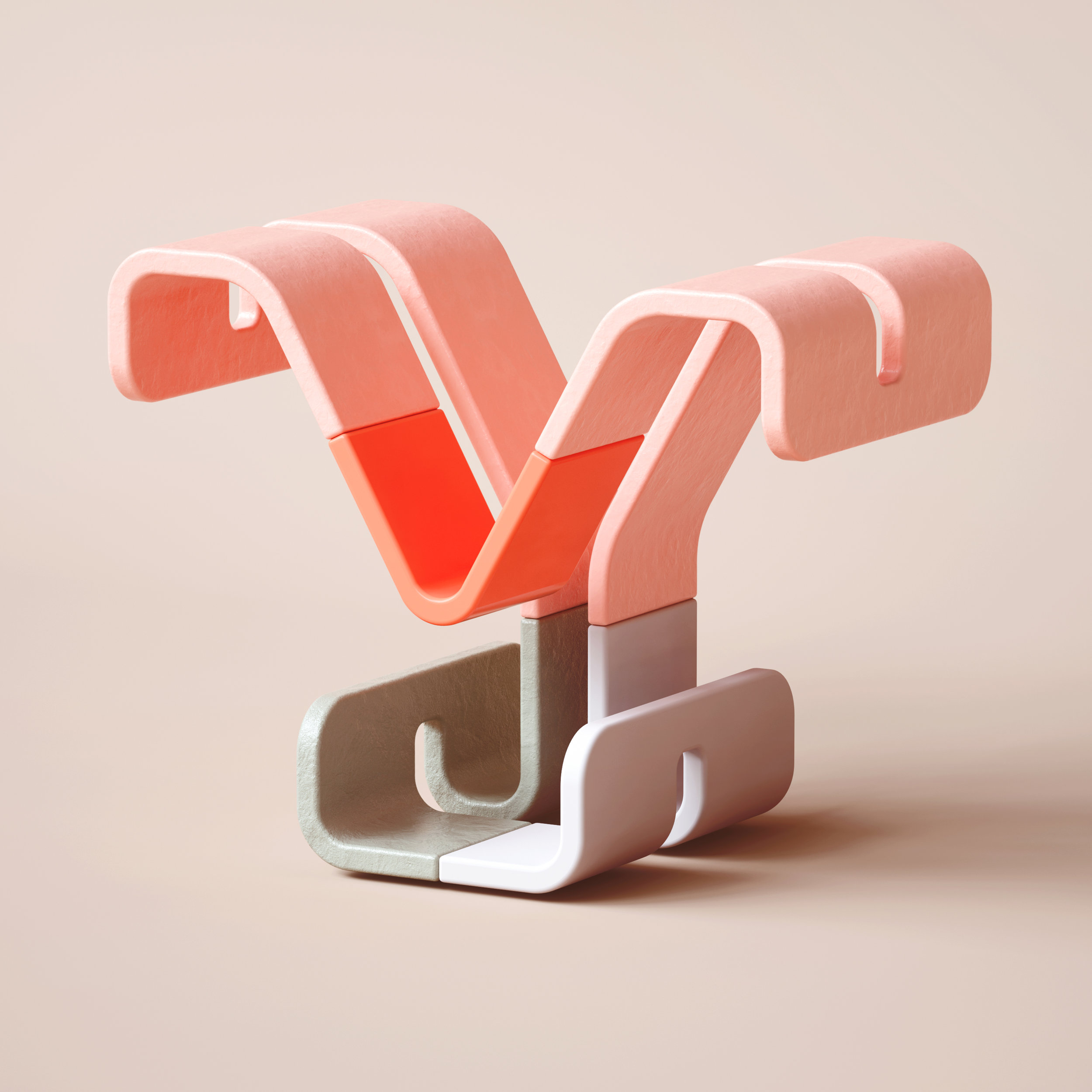 36 Days of Type 2019 - 3D Typeform letter Y visual.