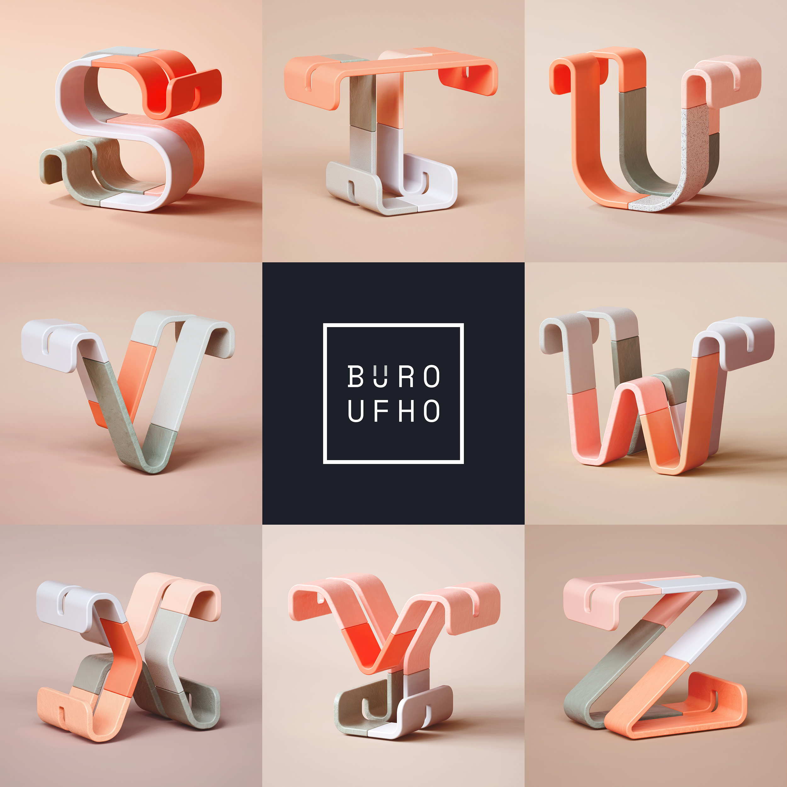 36 Days of Type 2019 - 3D Typeform letter V to Z visuals by Singapore based brand strategy and creative design consultancy, BÜRO UFHO.