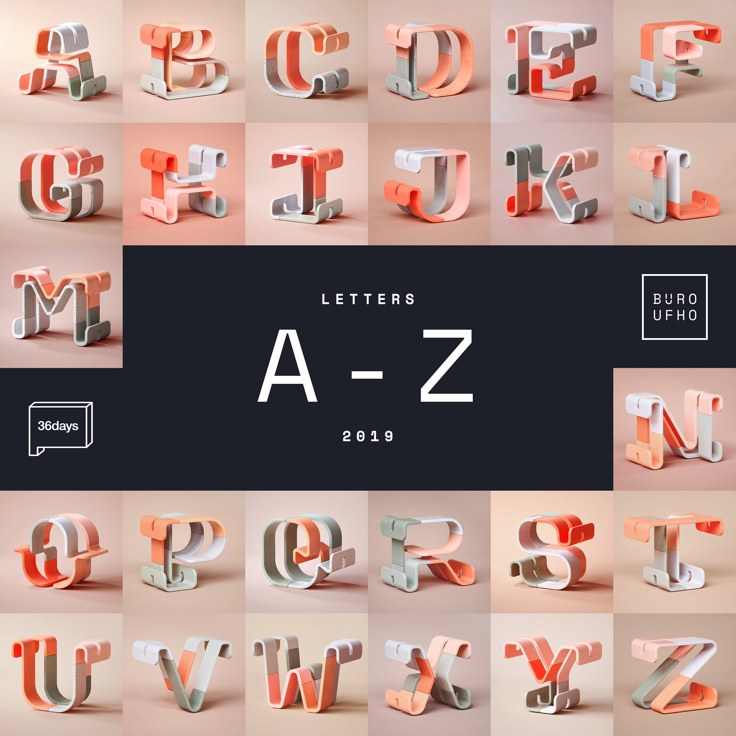 36 Days of Type 2019 - 3D Typeform letter A to Z visuals.