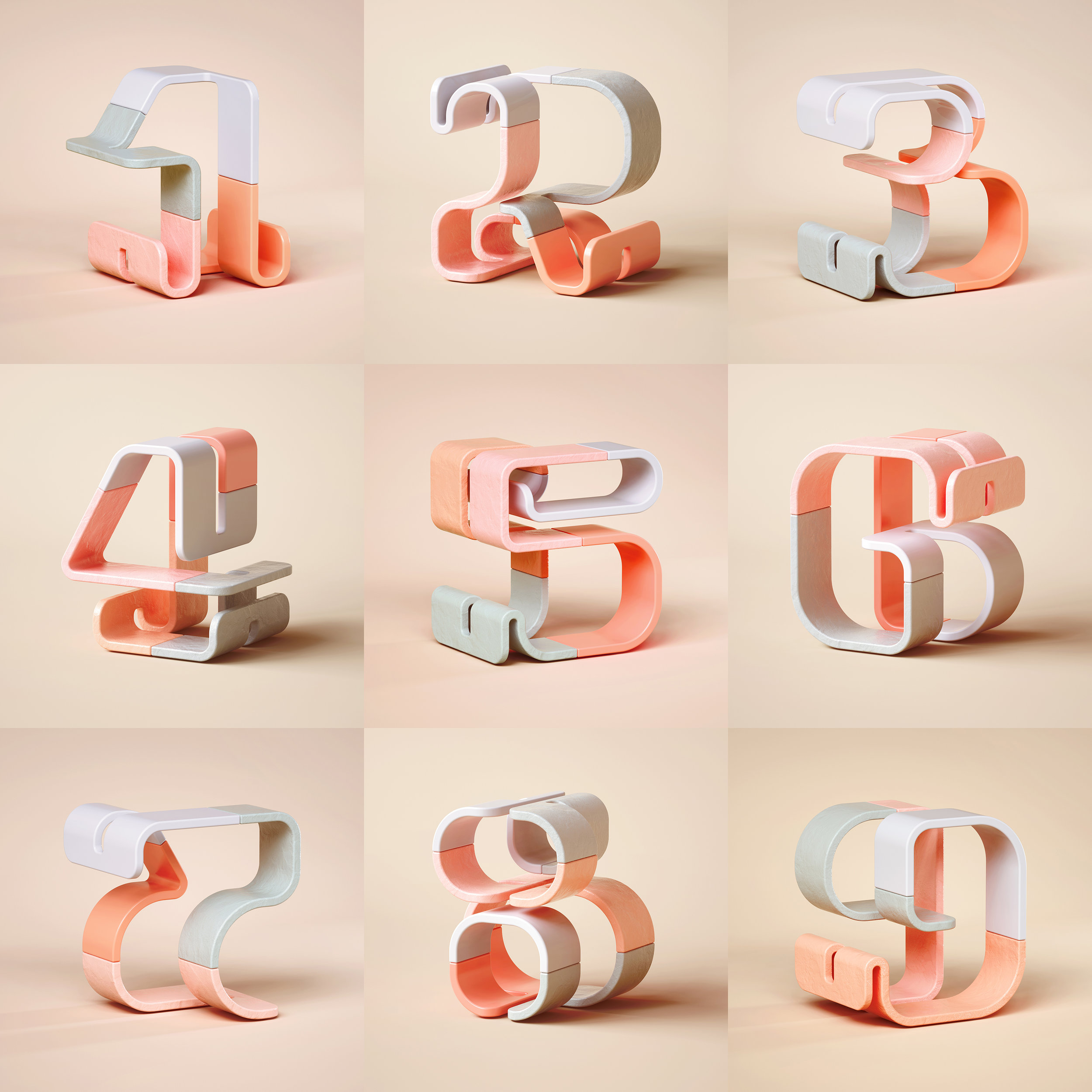 36 Days of Type 2019 - 3D Typeform number 1 to 9 visuals.