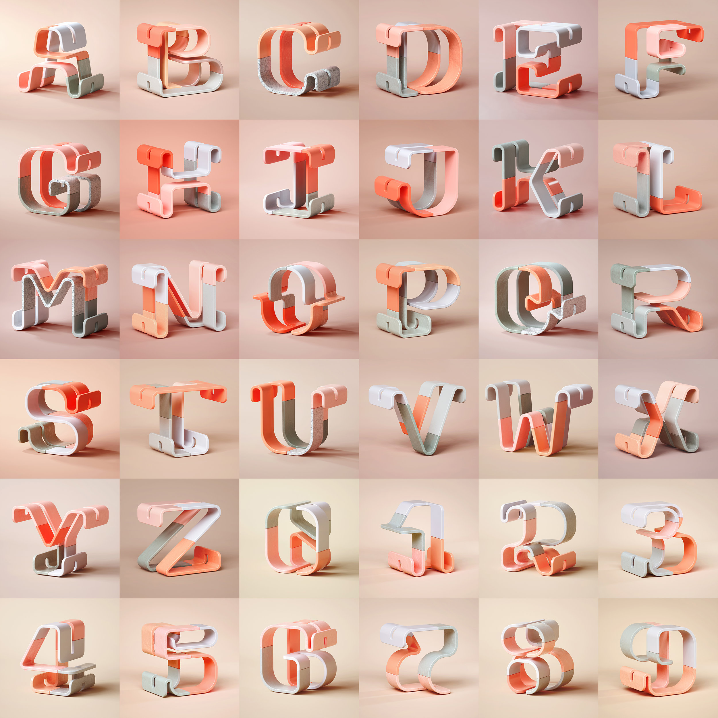36 Days of Type 2019 - 3D Typeform complete set visuals.