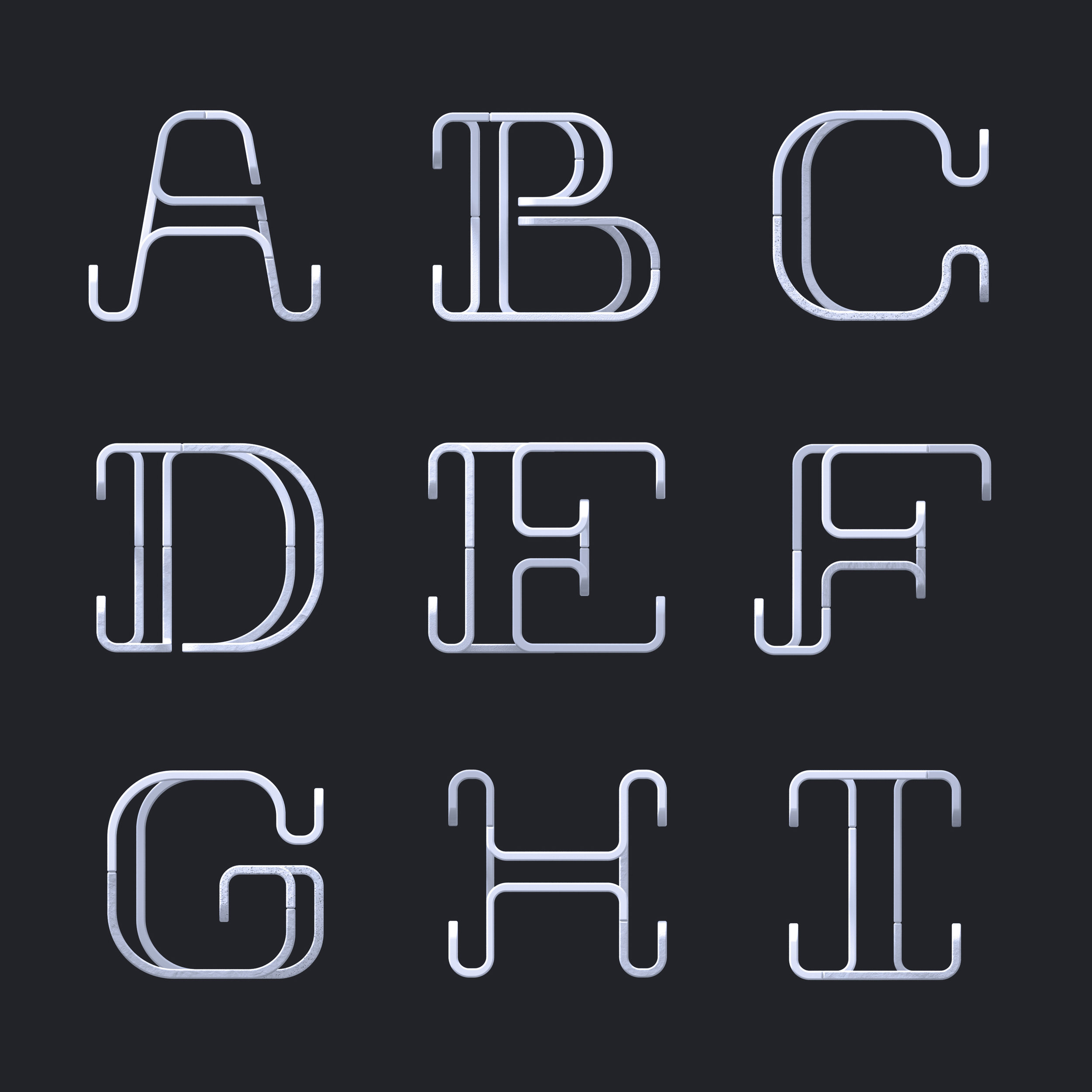 36 Days of Type 2019 - 2D Typeform letter A to I.