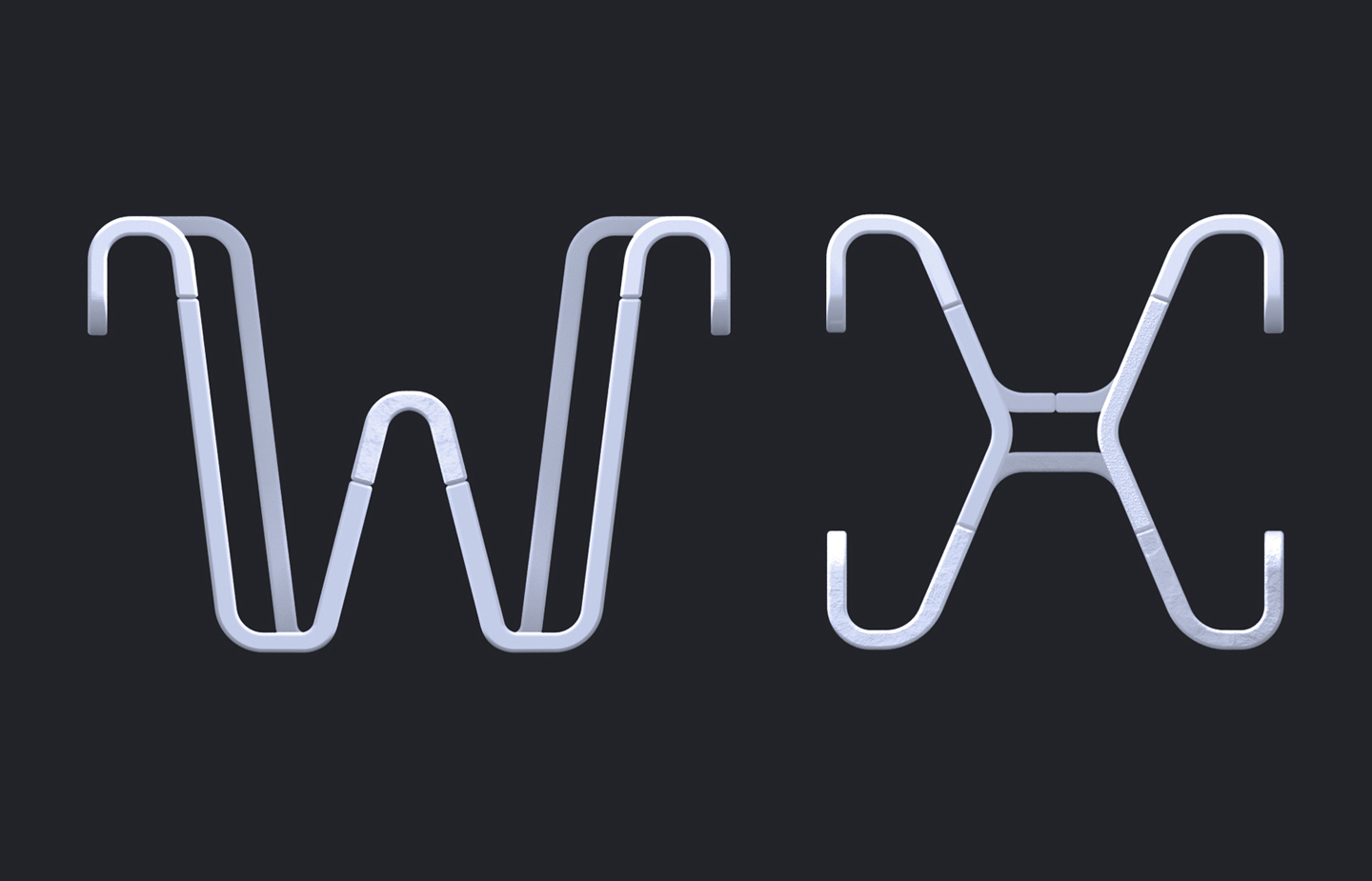 36 Days of Type 2019 - 2D Typeform letter W & X.