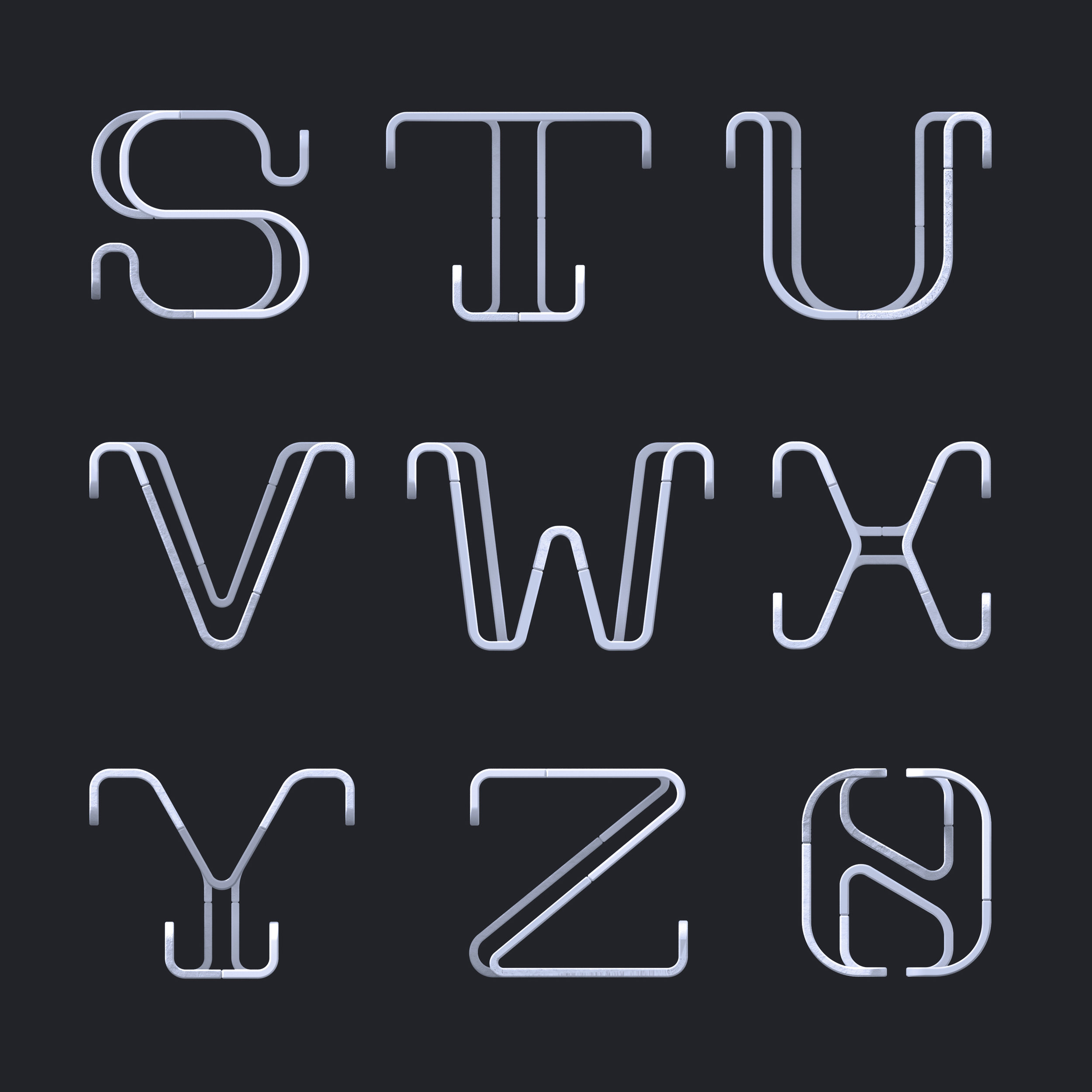 36 Days of Type 2019 - 2D Typeform letter S to 0.