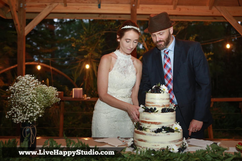 orlando wedding photography  orlando wedding photographer  harmony gardens wedding venue orlando  cake cutting bride and groom  groom cake  wedding cake