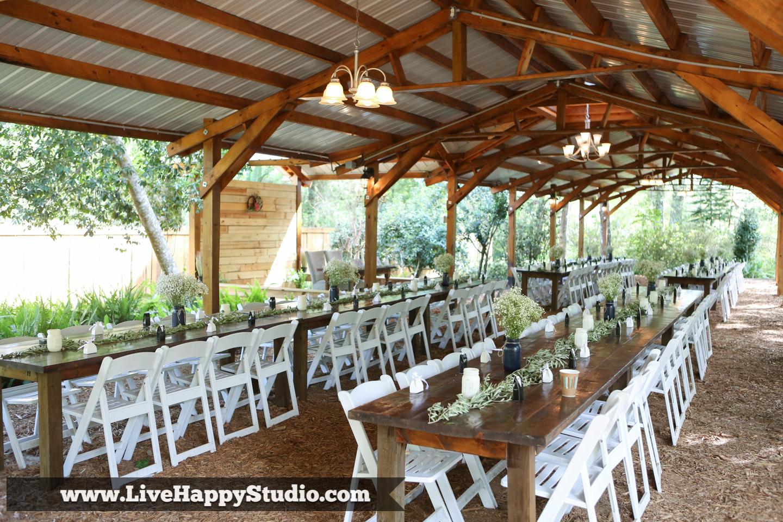 orlando wedding photography  orlando wedding photographer  harmony gardens wedding venue orlando  reception area  covered patio  garden