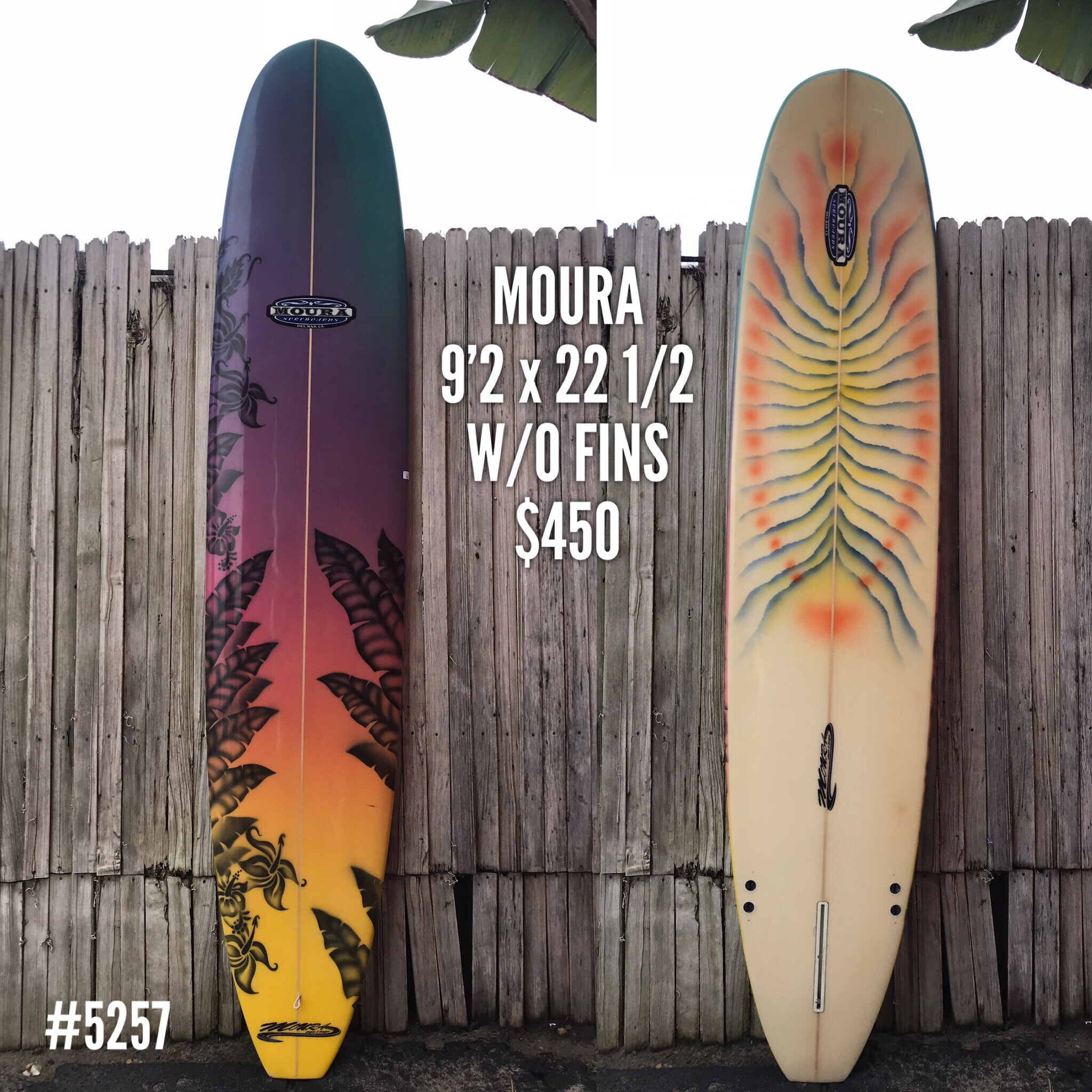 This fun looking 9'2 Moura Longboard is in good condition. Little signs of wear and tear with a small pro ding repair on the tail and a couple little scratches, but watertight and ready to hit the waves. A nice refined shape with more of a performance feel and a little extra rocker will have you ready for the next winter swell. Selling w/o fins, just $450.