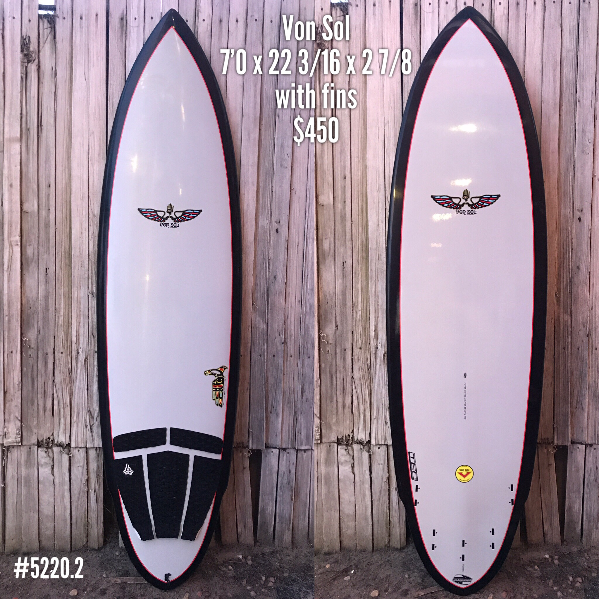 We don't see too many of these in the Racks. This 5 fin option Von Sol epoxy construction board is the ultimate ride. Catch waves easily and enjoy a fun and fast ride. These boards are super durable, and this one's in perfect condition. Make it your for $450 - includes fins!!