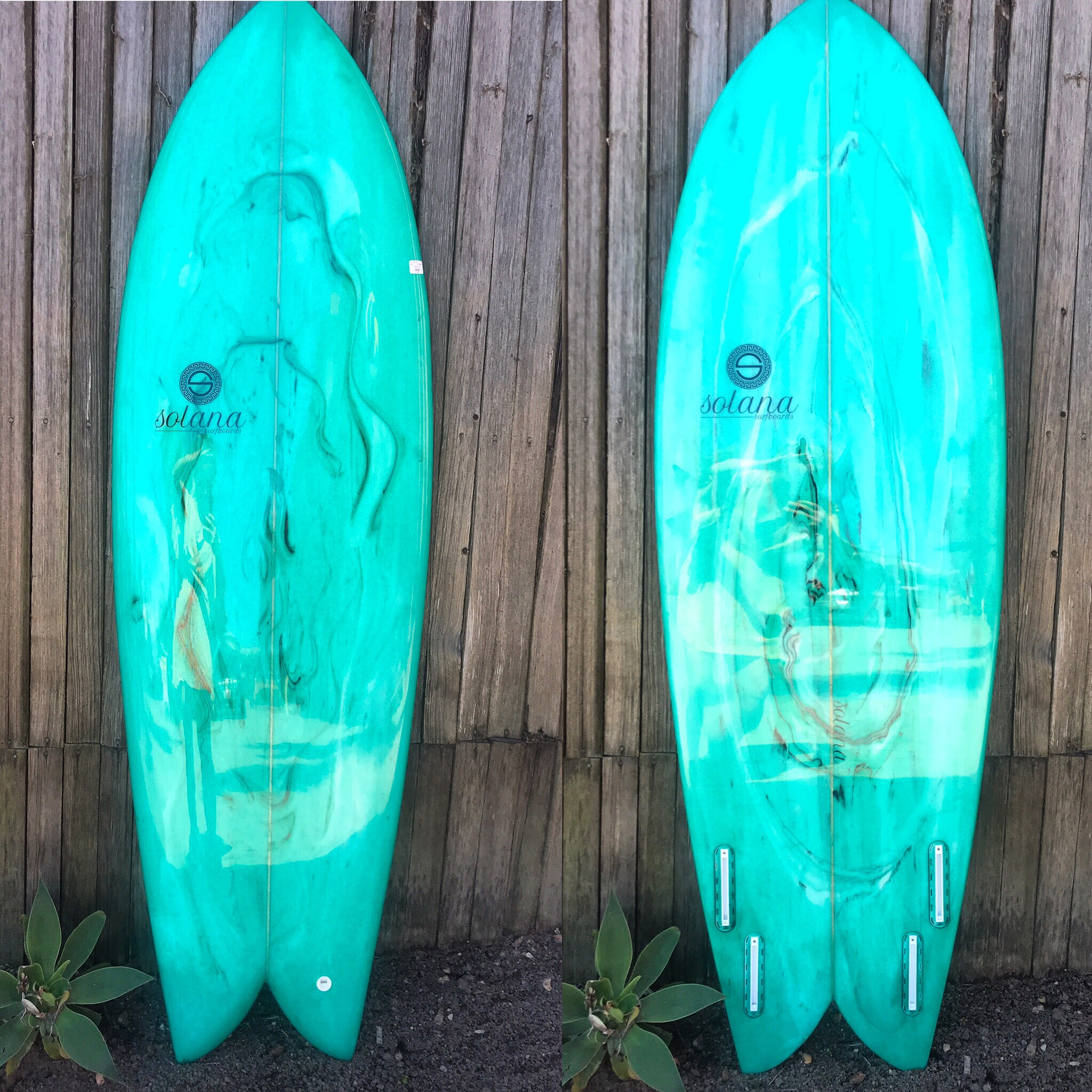 5'10 Solana Surfboards - Retro Fish