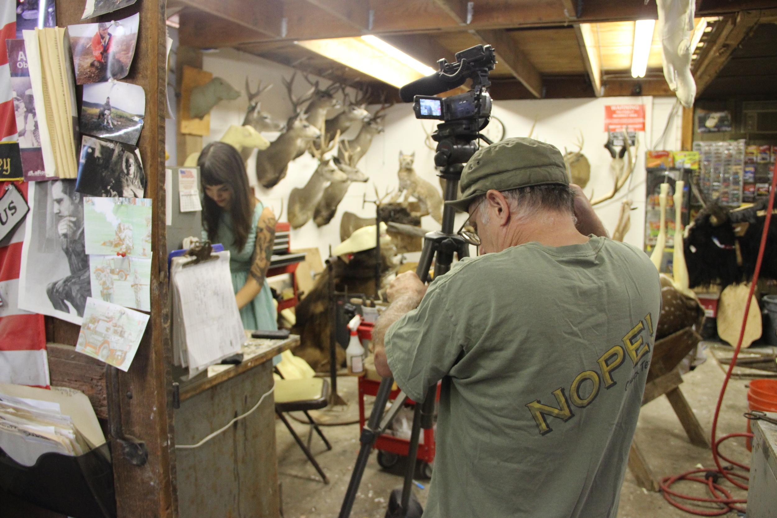 Photo of Chuck Testa filming for Ojai Valley Taxidermy, taken by Stefanie Jorge Bockenstette