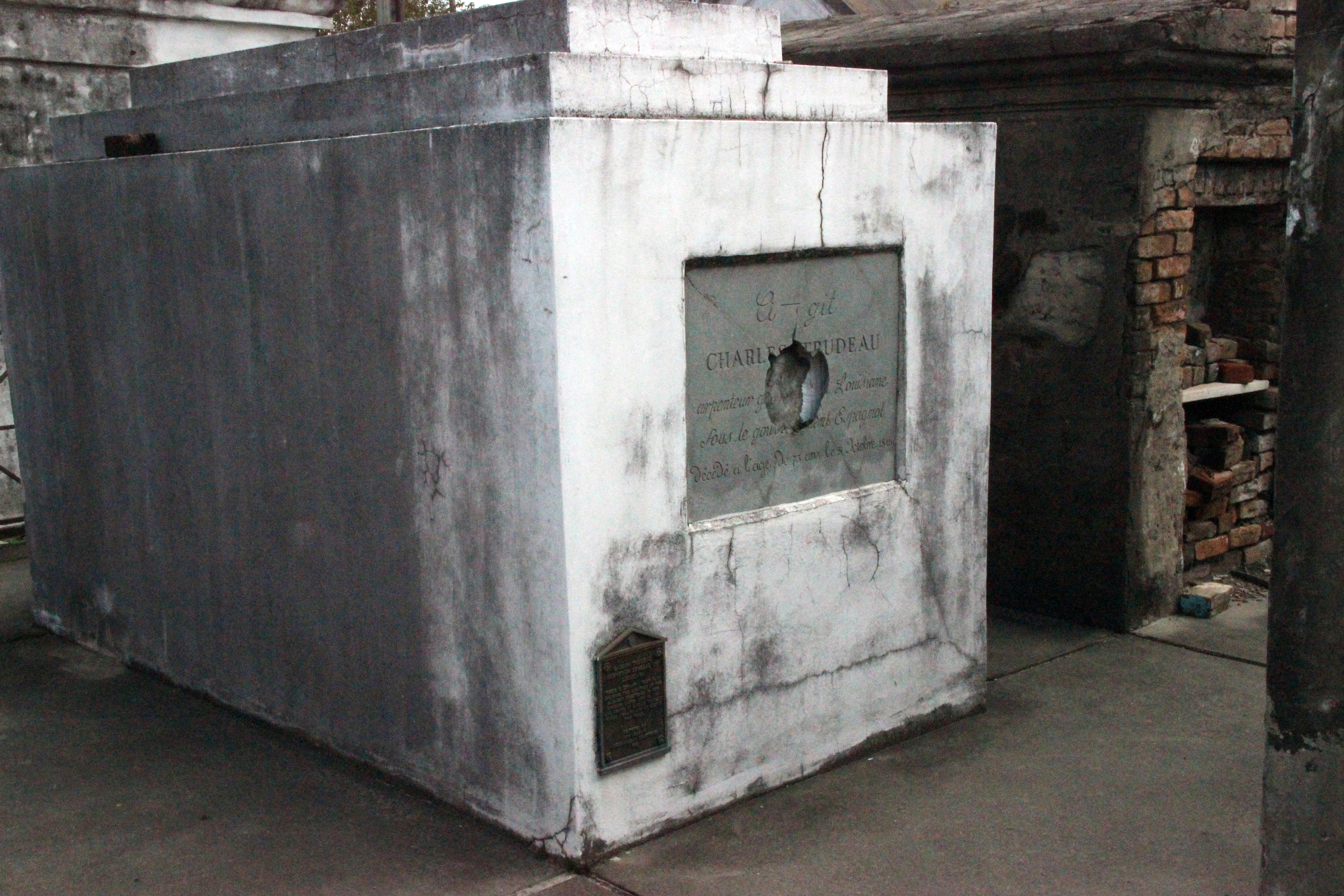 A tomb which was vandalized by someone intending to steal parts of the skeleton inside