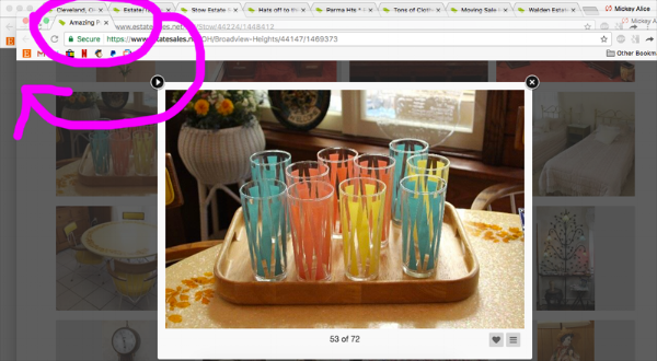 When I find something I like, I move the tab all the way to the left so I can keep track of which estate sales have things I want. If a sale doesn't have anything I want, I just close the tab.