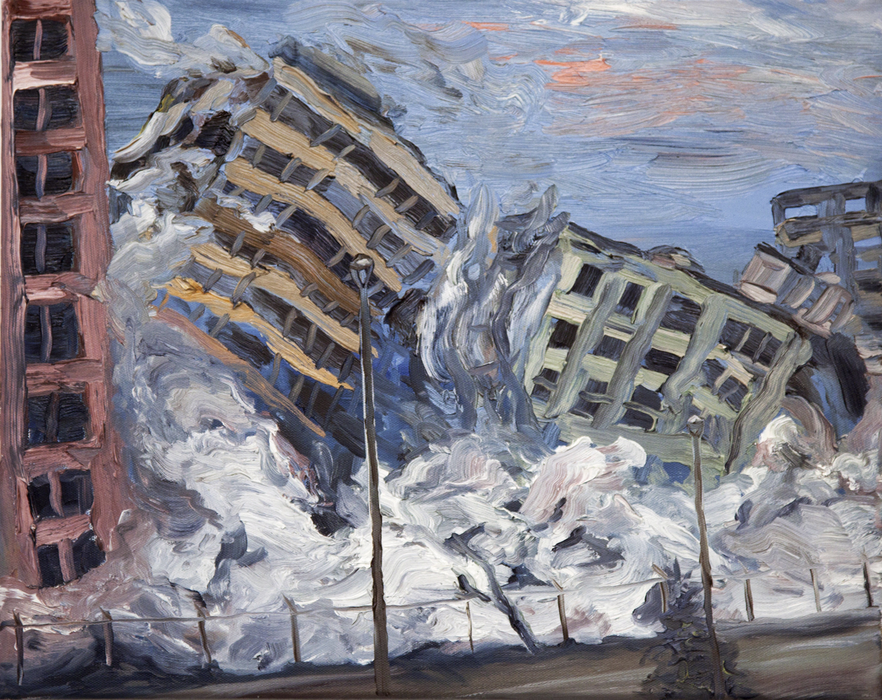 """""""Disaster Sketches no. 3"""" Oil on canvas,16""""x 20"""",2012"""