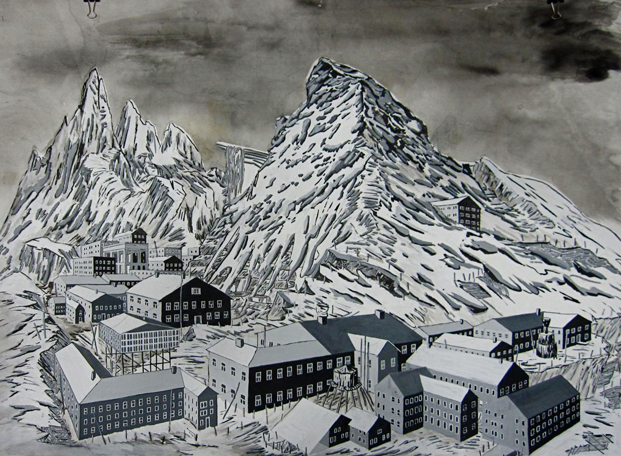 Gulag   ink and rice paper on bristol paper. 24 in. x 30 in. 2010.