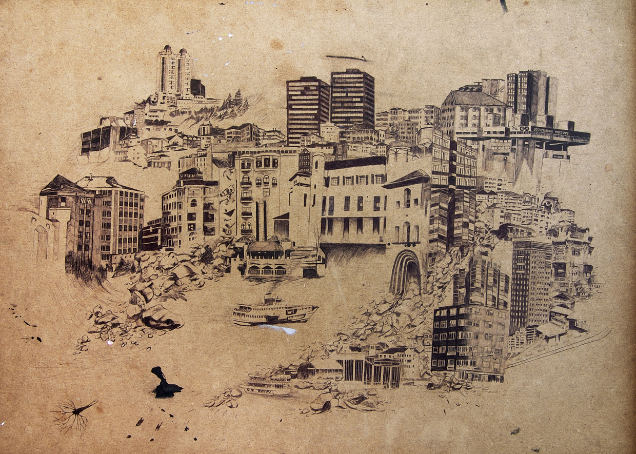 """ Constantinople    Bic ink on panel.20"""" X 28"""".2007"""