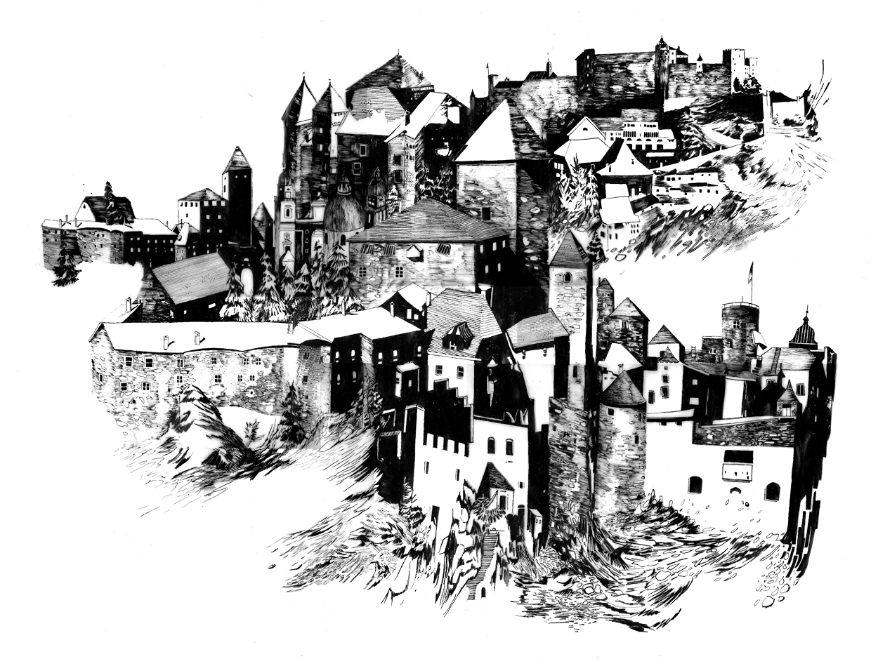 """ Fortress    Ink on vellum.18"""" X 26"""".2007"""