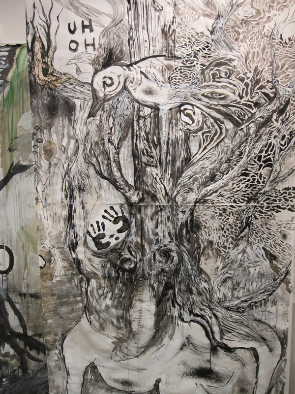 """""""Big Fleas Have Little Fleas"""" Ink, graphite, charcoal, gesso, paint on paper and canvas. Dimensions vary. 2010"""