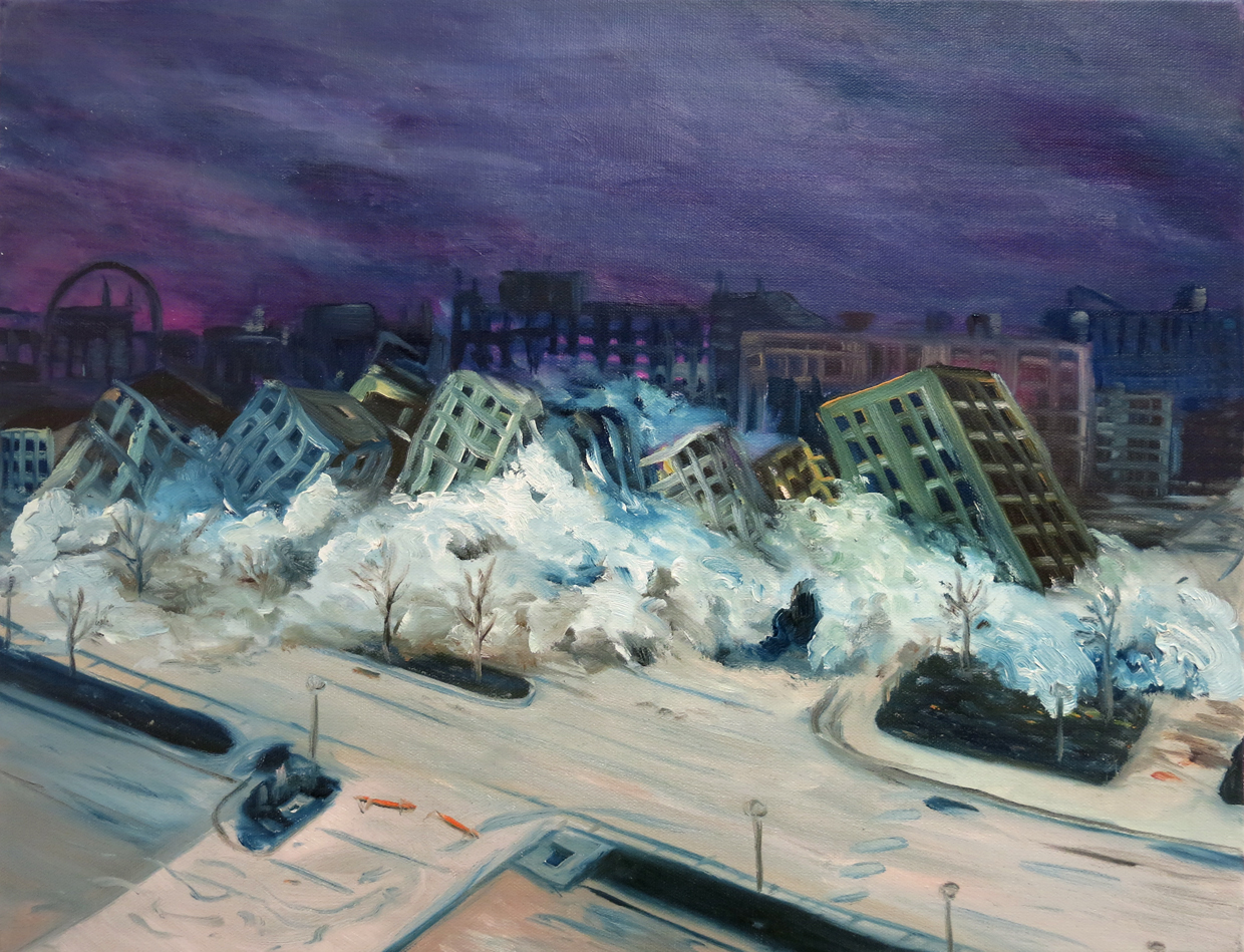 """""""Disaster Sketches no. 4""""Oil on canvas,16""""x 20"""",2012"""