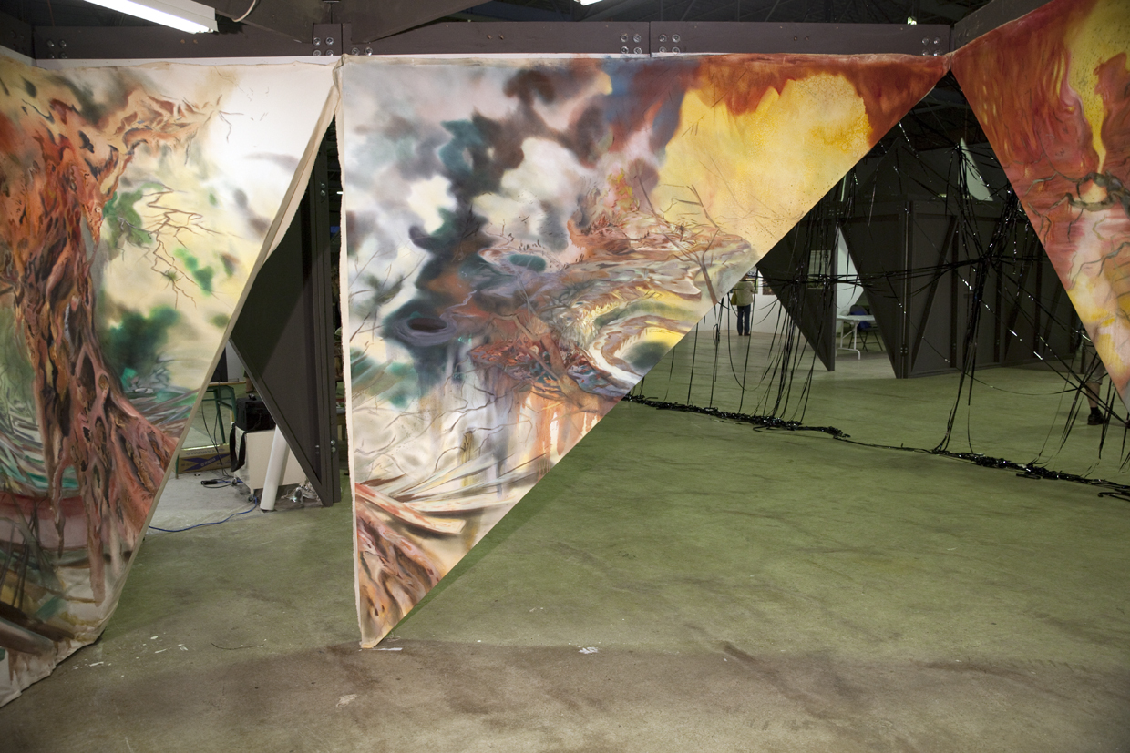 """""""Oleoduct""""Oil and charcoal on canvas. 8 ft. X 56 ft. (irregular shape). 2013."""