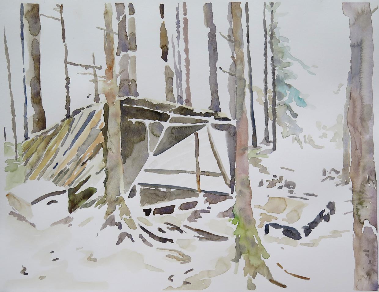 Bivouac, Dale   Watercolour on paper, 10.6 in. x 13.8 in. 2013